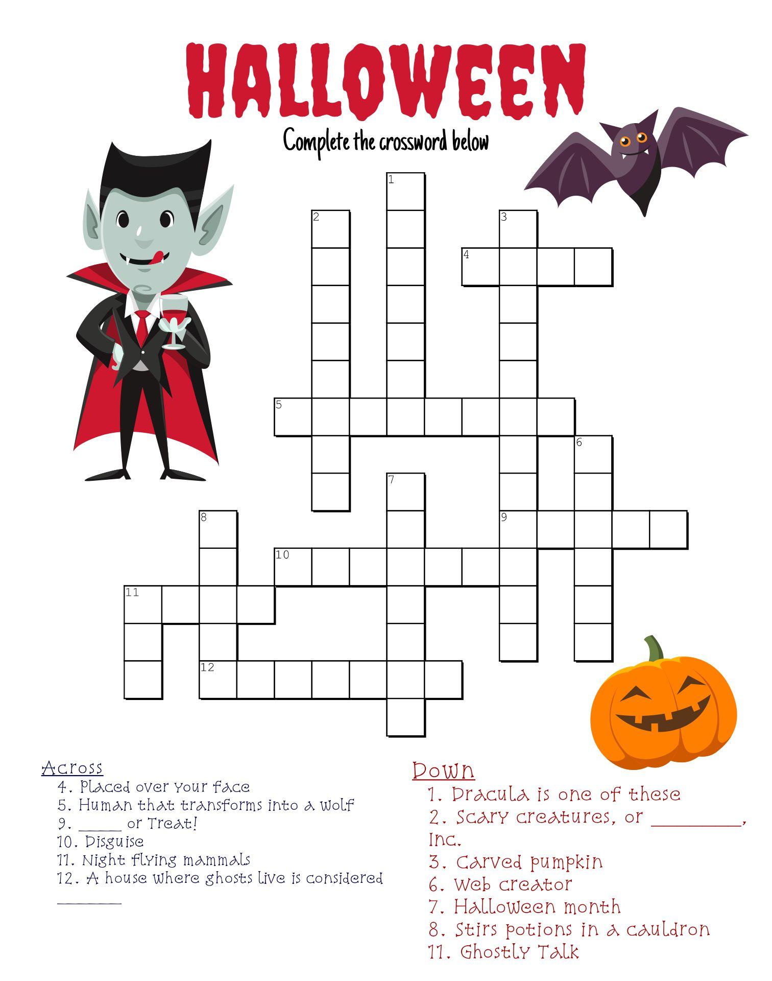 Fun Halloween Crossword Puzzles