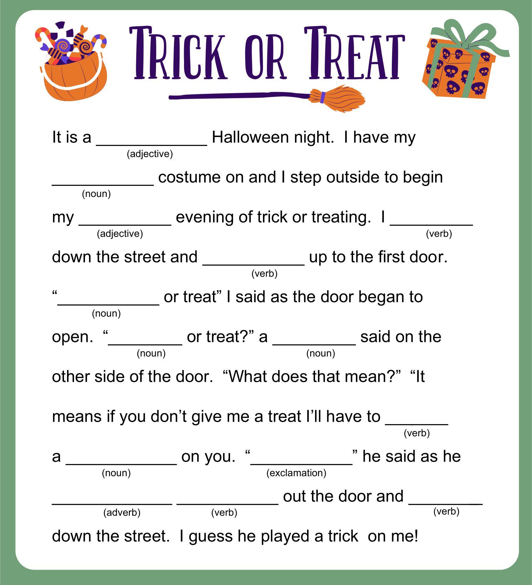 Fun Halloween Treat Activity Printable