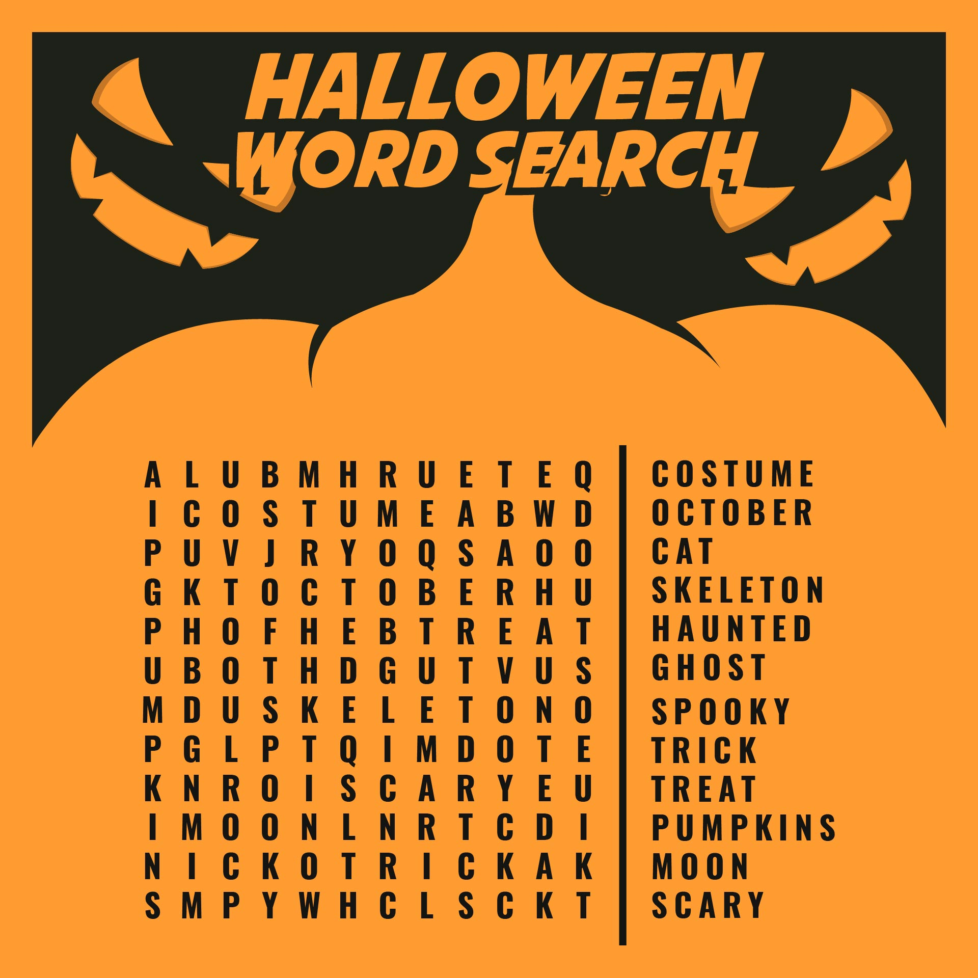 Giant Halloween No Prep Word Search Puzzle Worksheet Activity