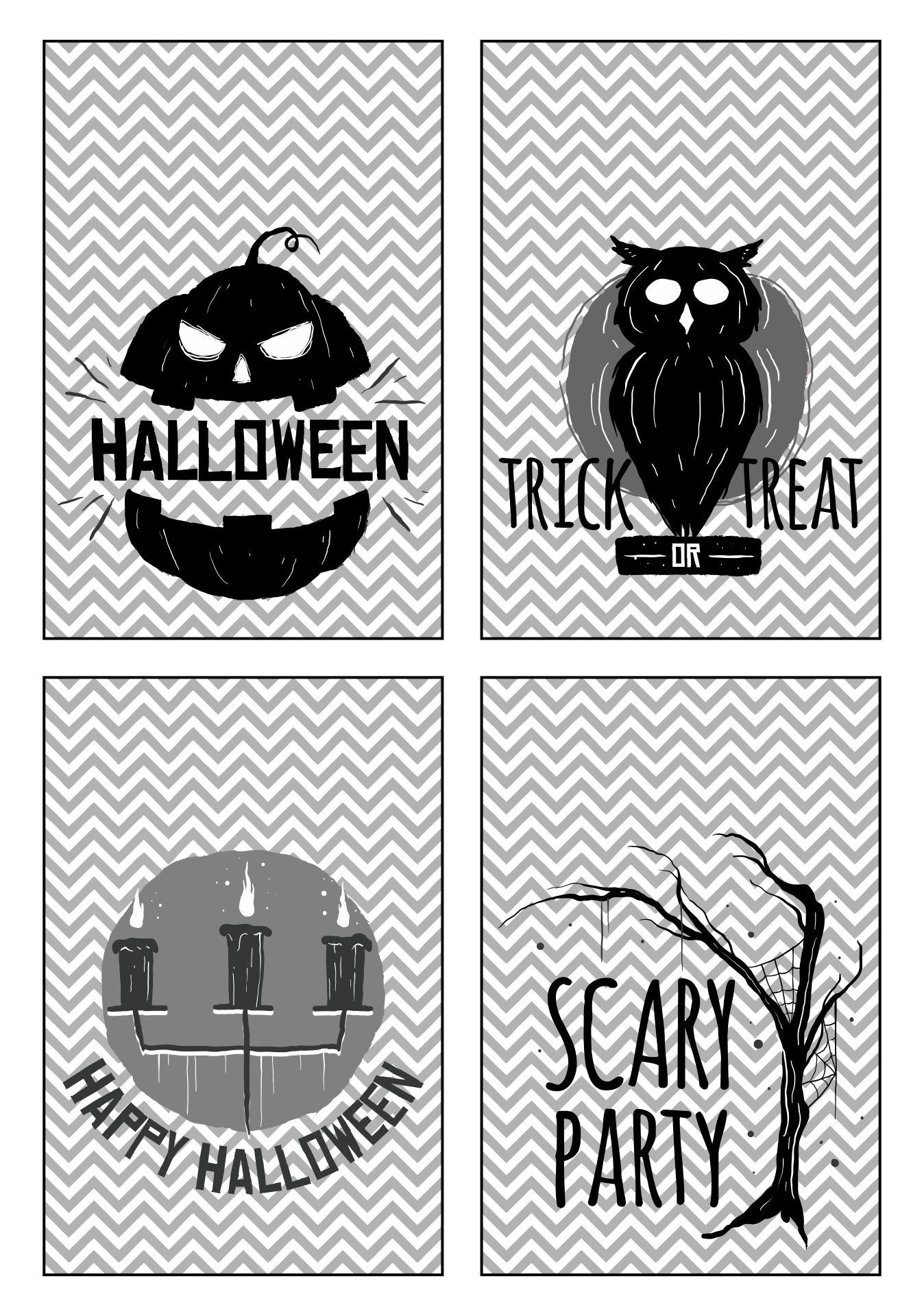 Grey Gift Tag Halloween Printables