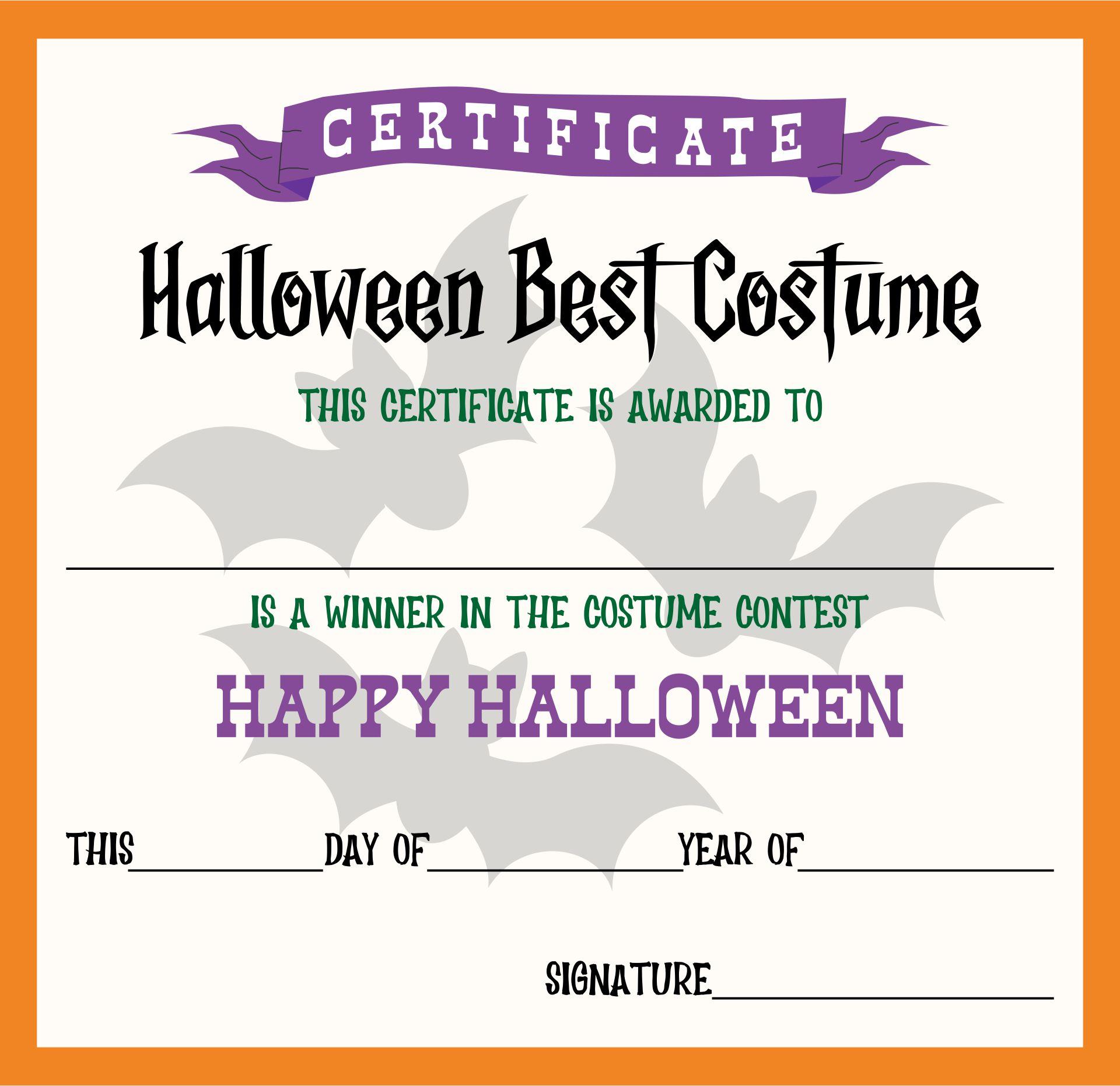 Halloween Best Dressed Certificates Printable