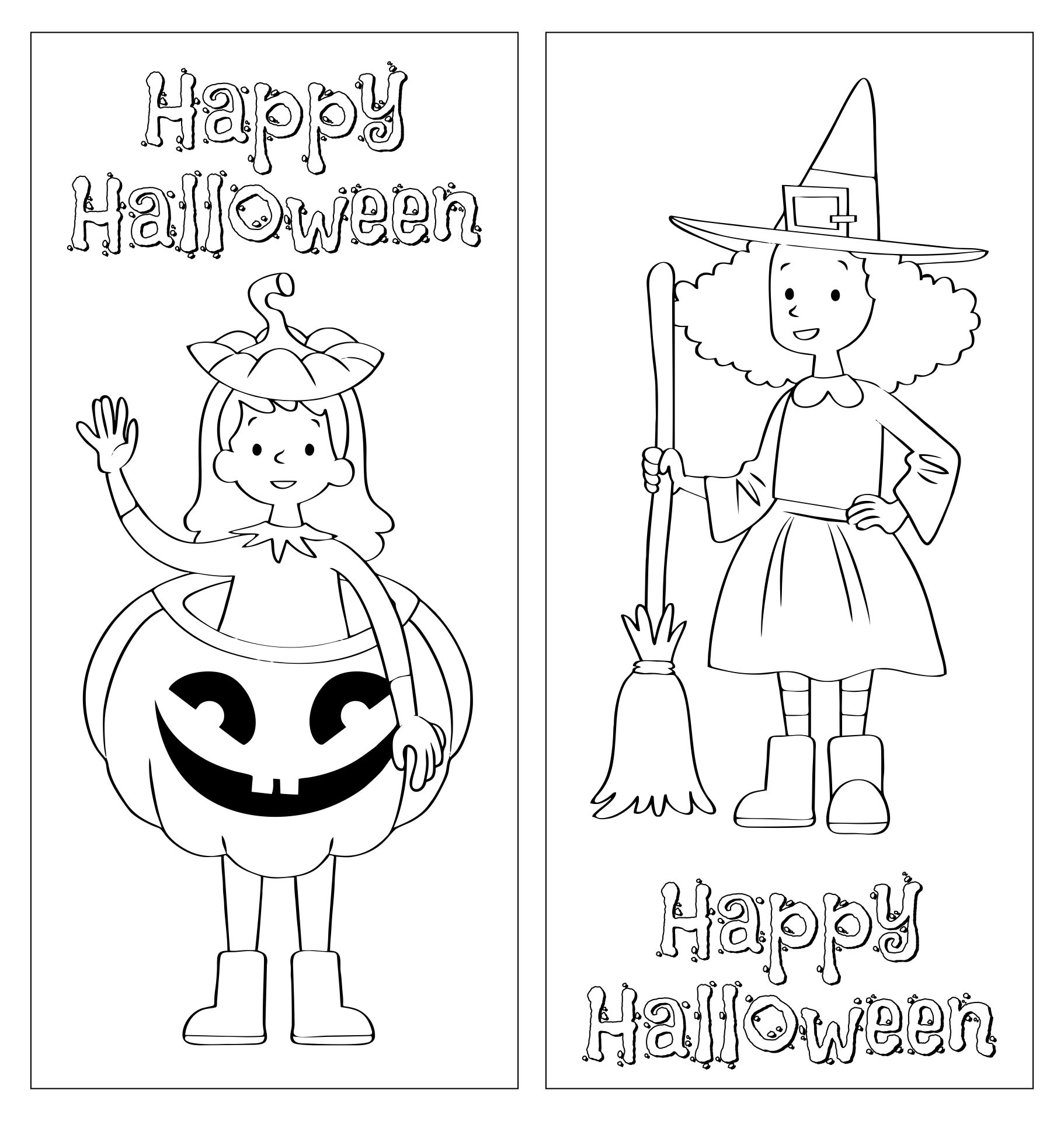Halloween Coloring Bookmarks Page