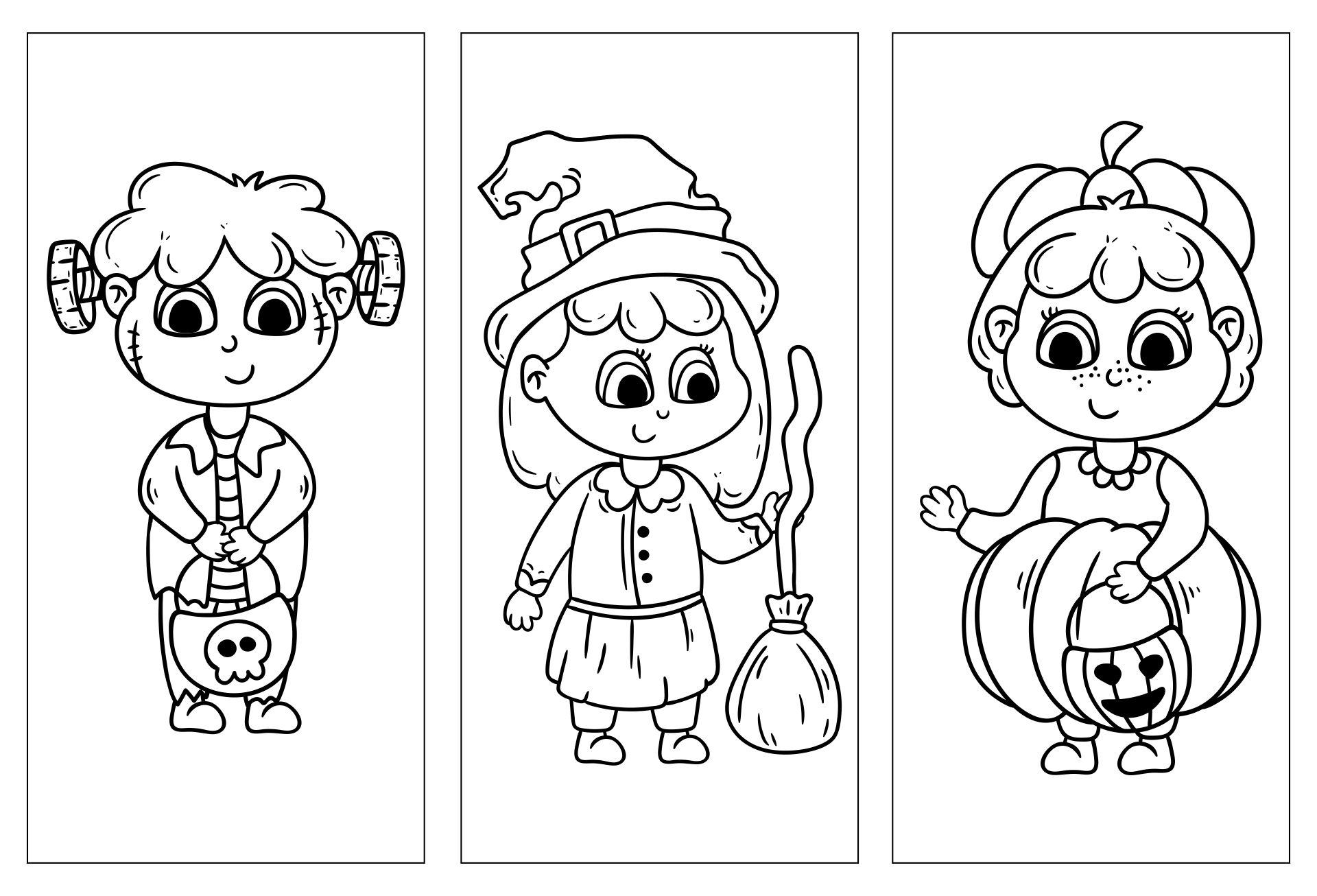 Halloween Coloring Bookmarks Printable