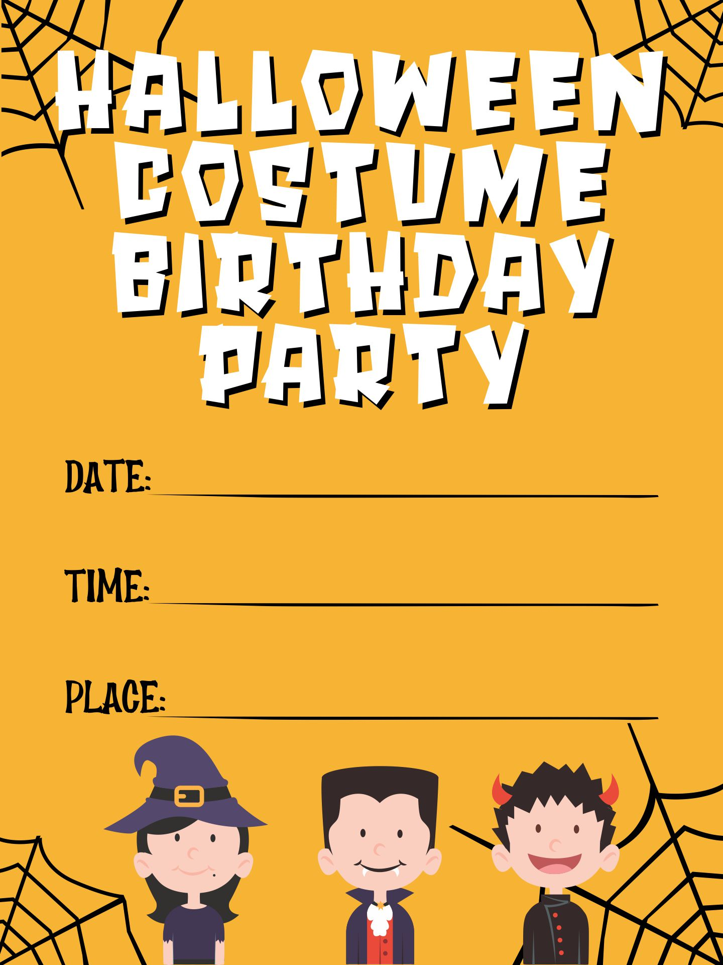 Halloween Costume Birthday Party Invitations