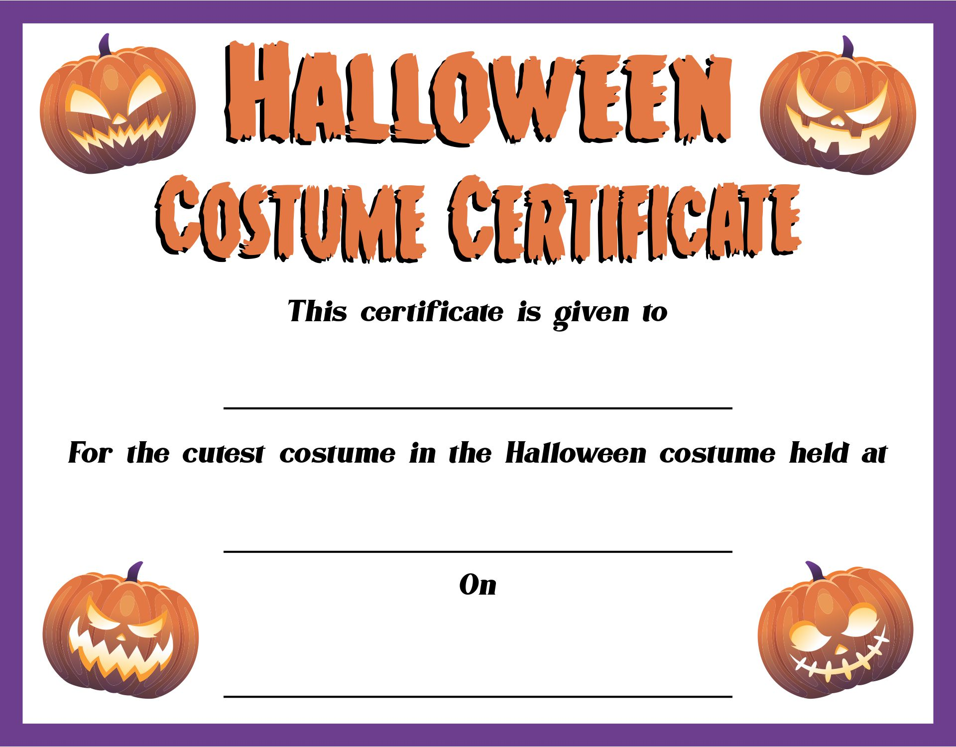 Halloween Costume Certificates With Best Designs And Halloween Printables