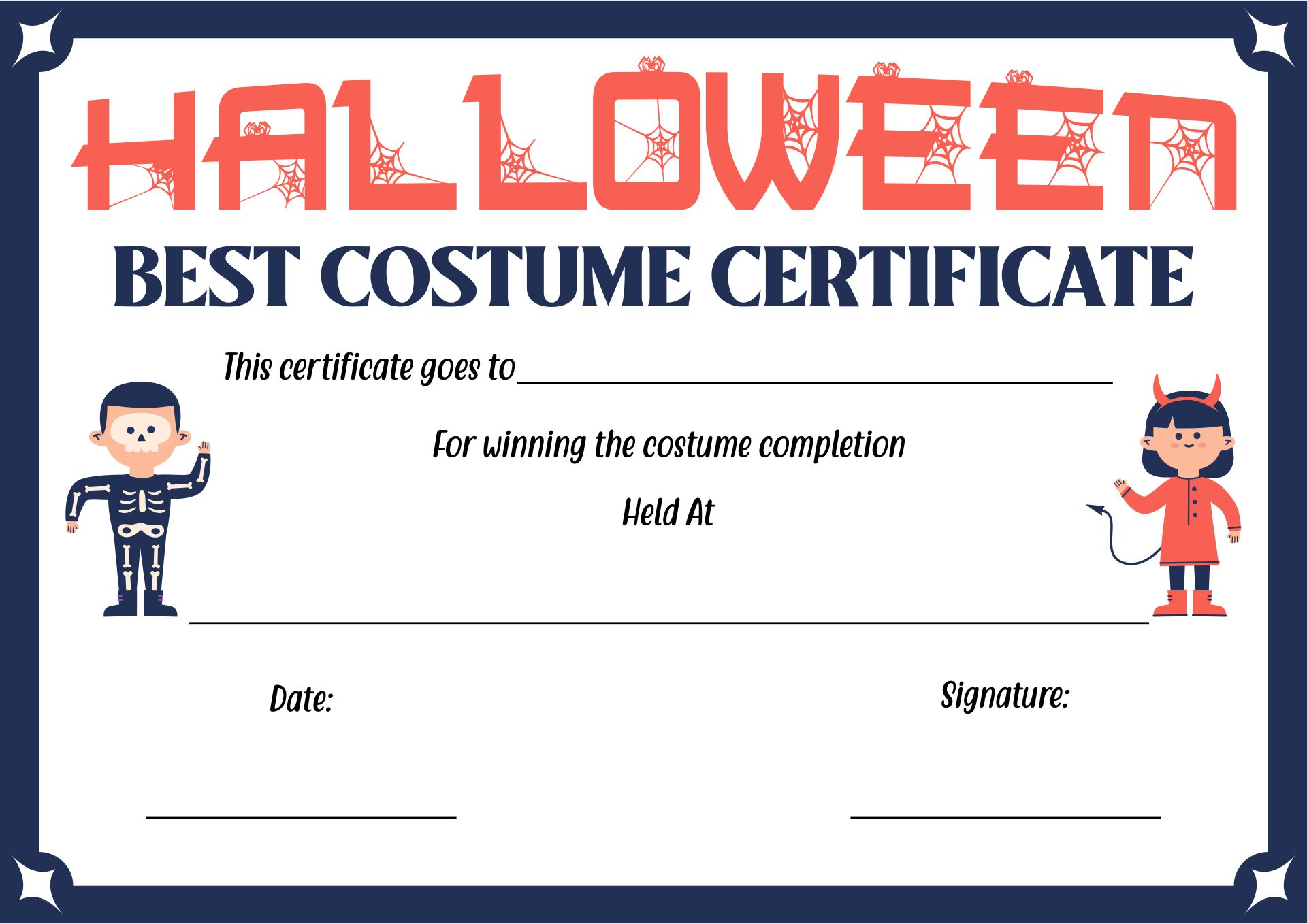 Halloween Costume Contest Certificate Templates