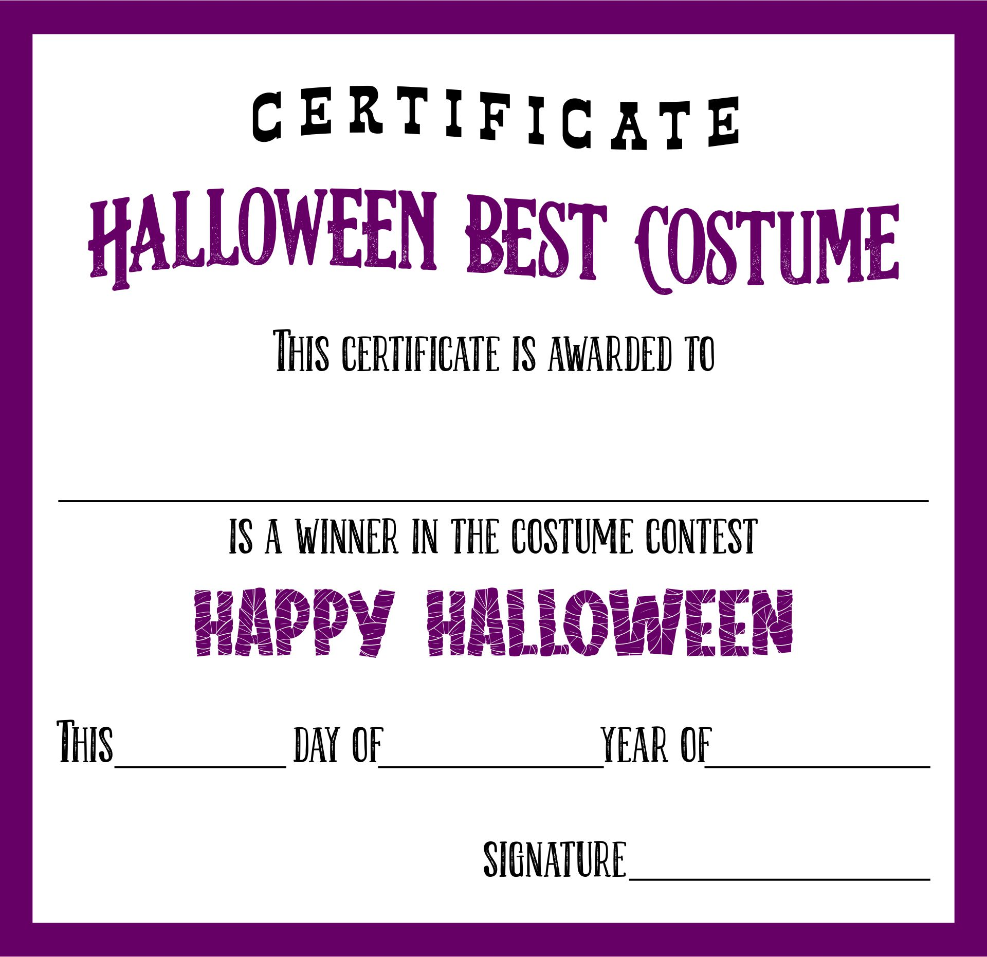 Halloween Costume Contest Certificates Printable