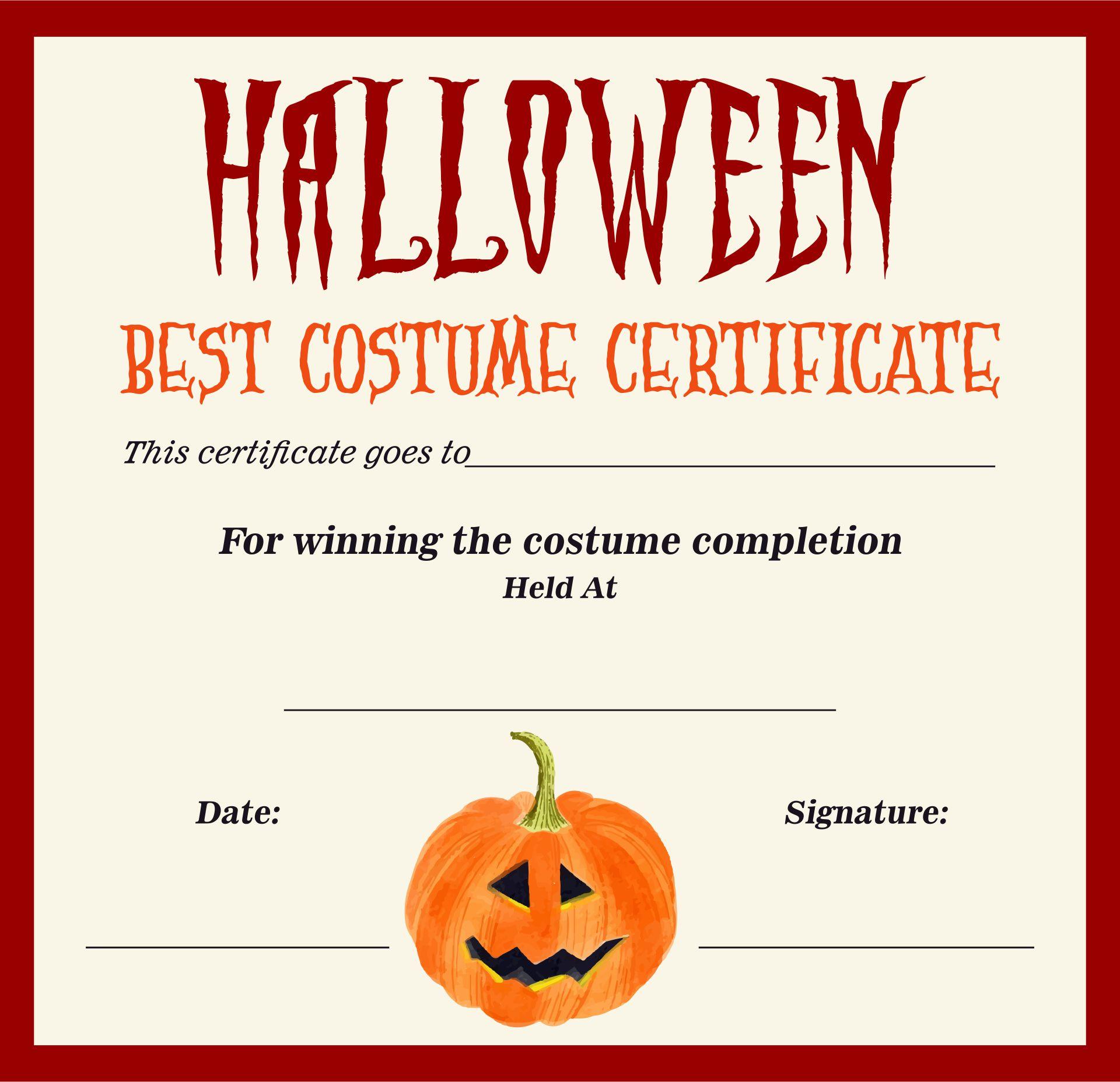 Halloween Costume Prizes Ideas Printable