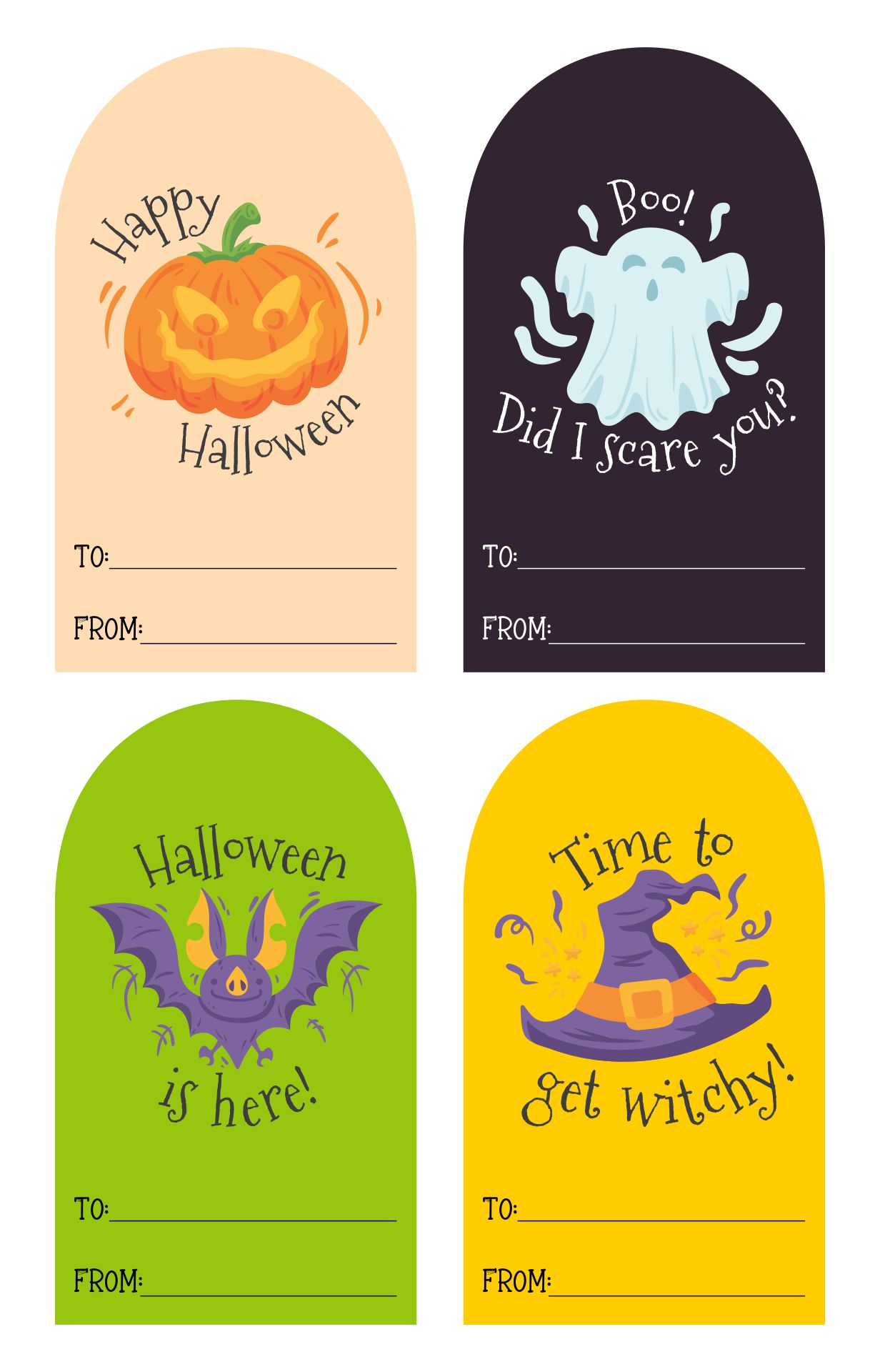Halloween Gift Tags, Cute And Scary Label Templates