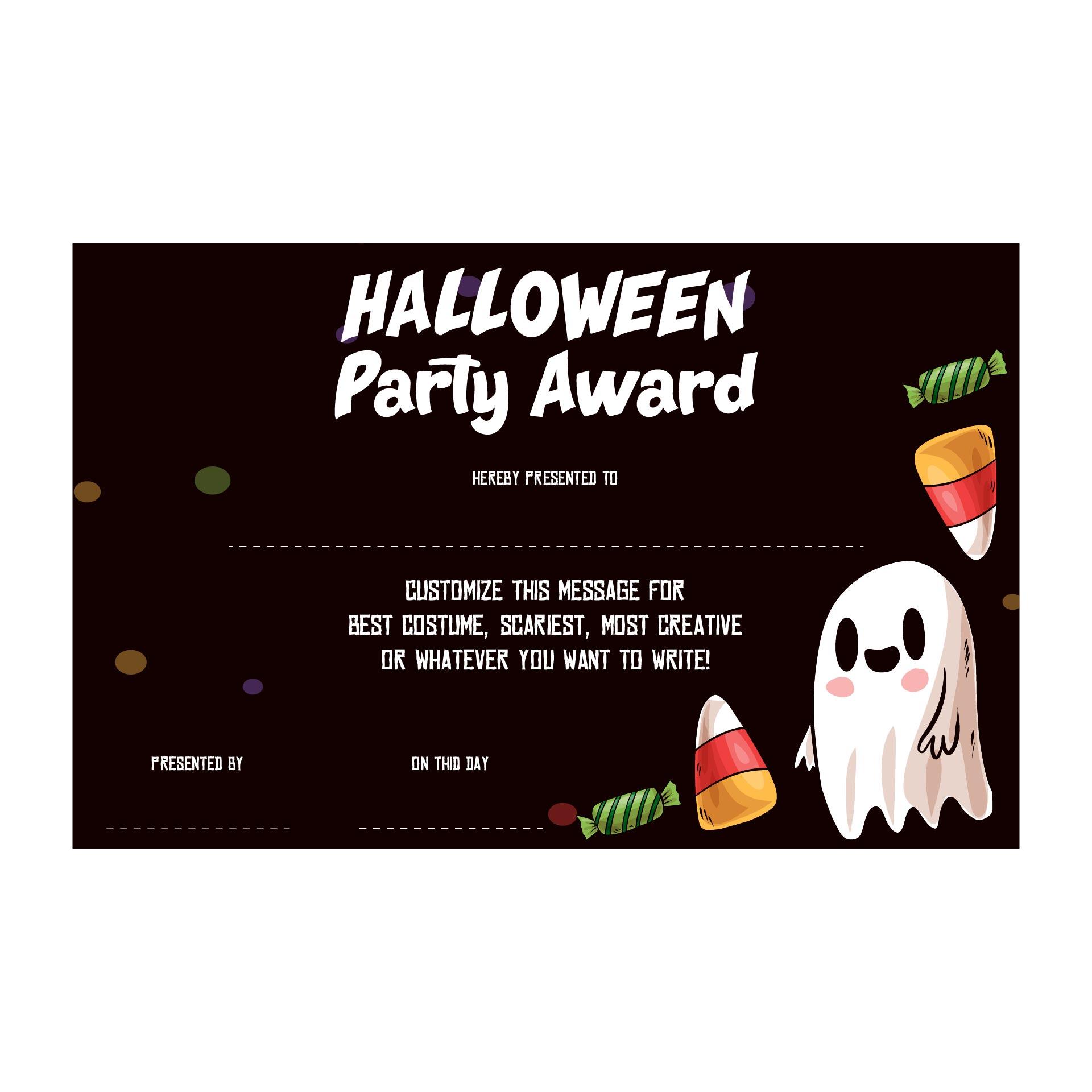 Halloween Holiday Certificate Printable Certificate