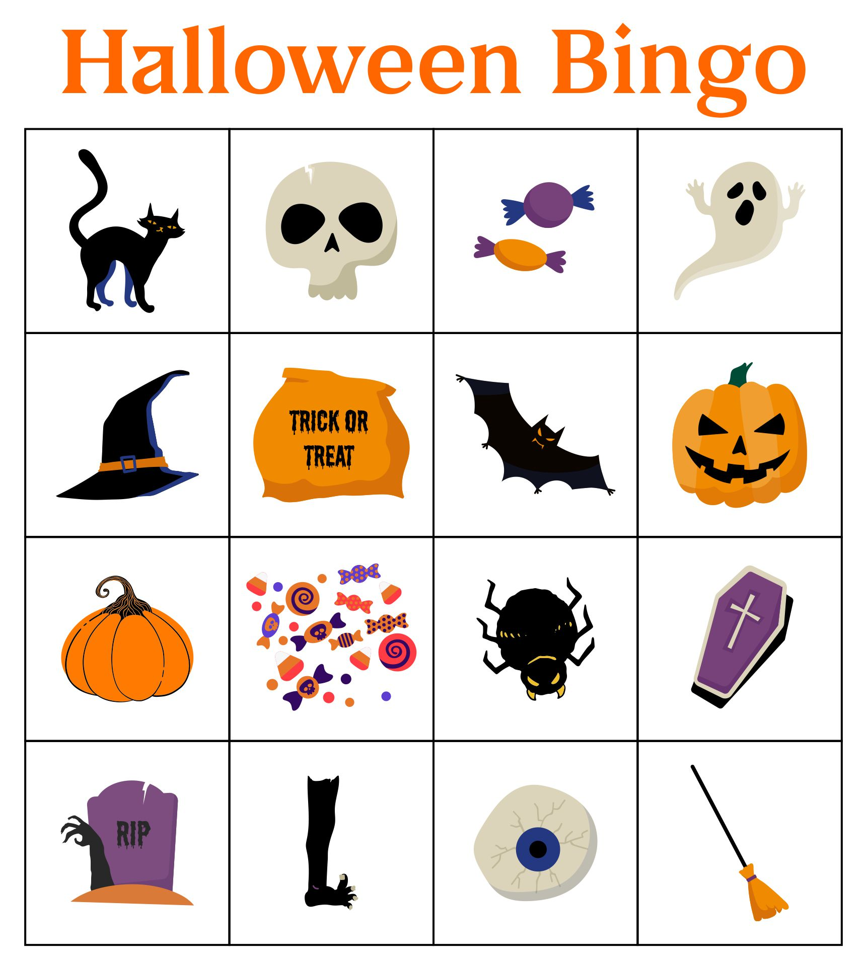 Halloween Images Bingo Cards To Download, Print And Customize