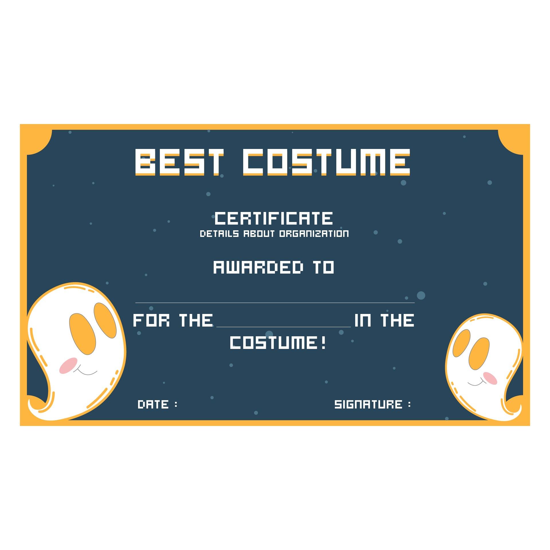 Halloween Innovative Costume Award Certificate Template