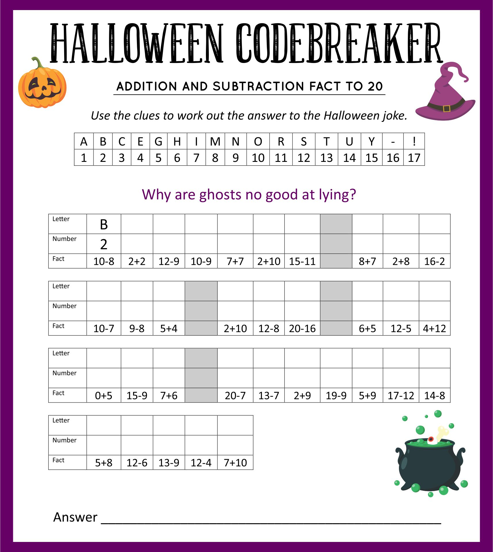 Halloween Math Activities For 4th Grade