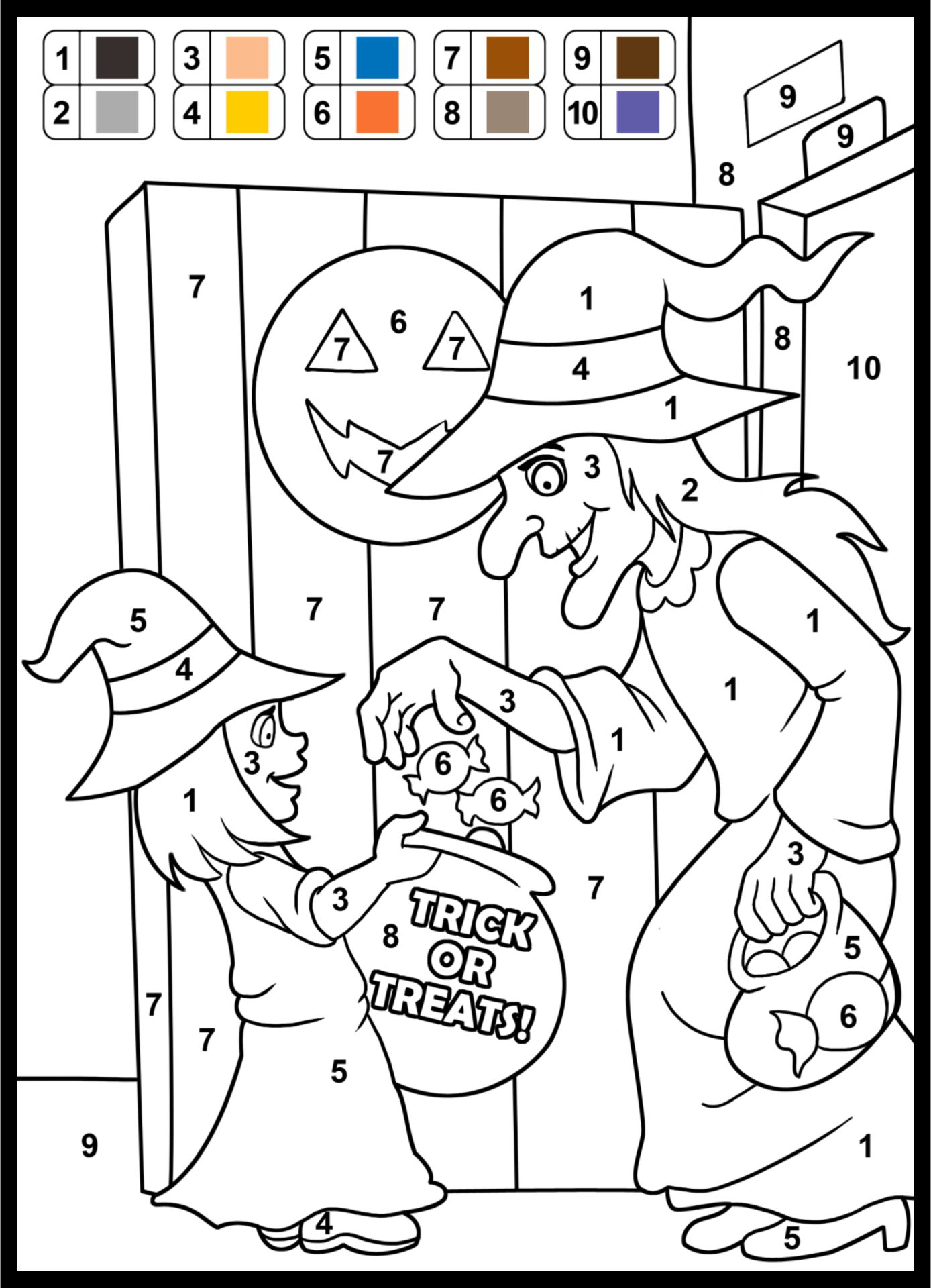 Halloween Math Color By Number Worksheets