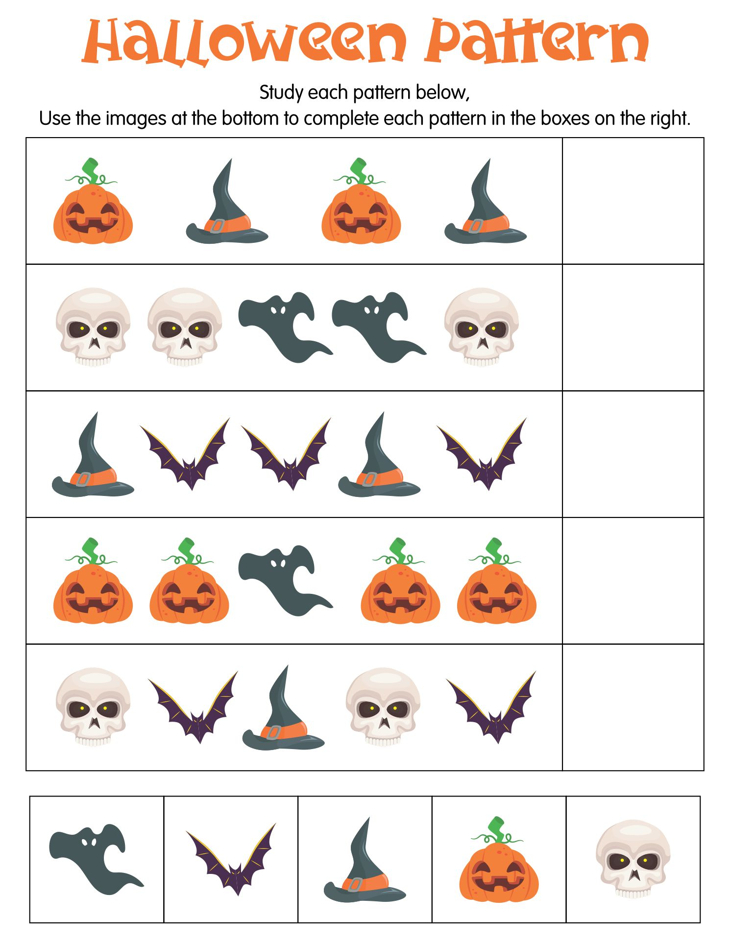 Halloween Pattern Worksheets Preschool