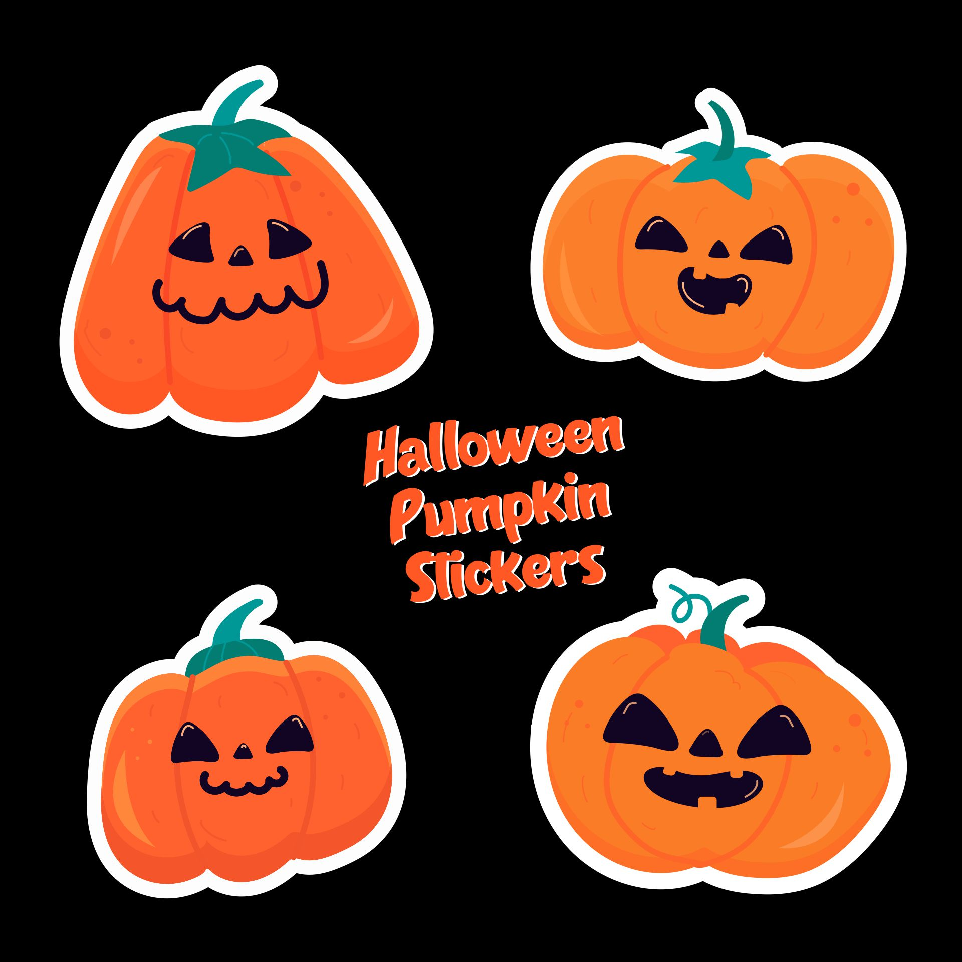 Halloween Pumpkin Clip Art Stickers Printable