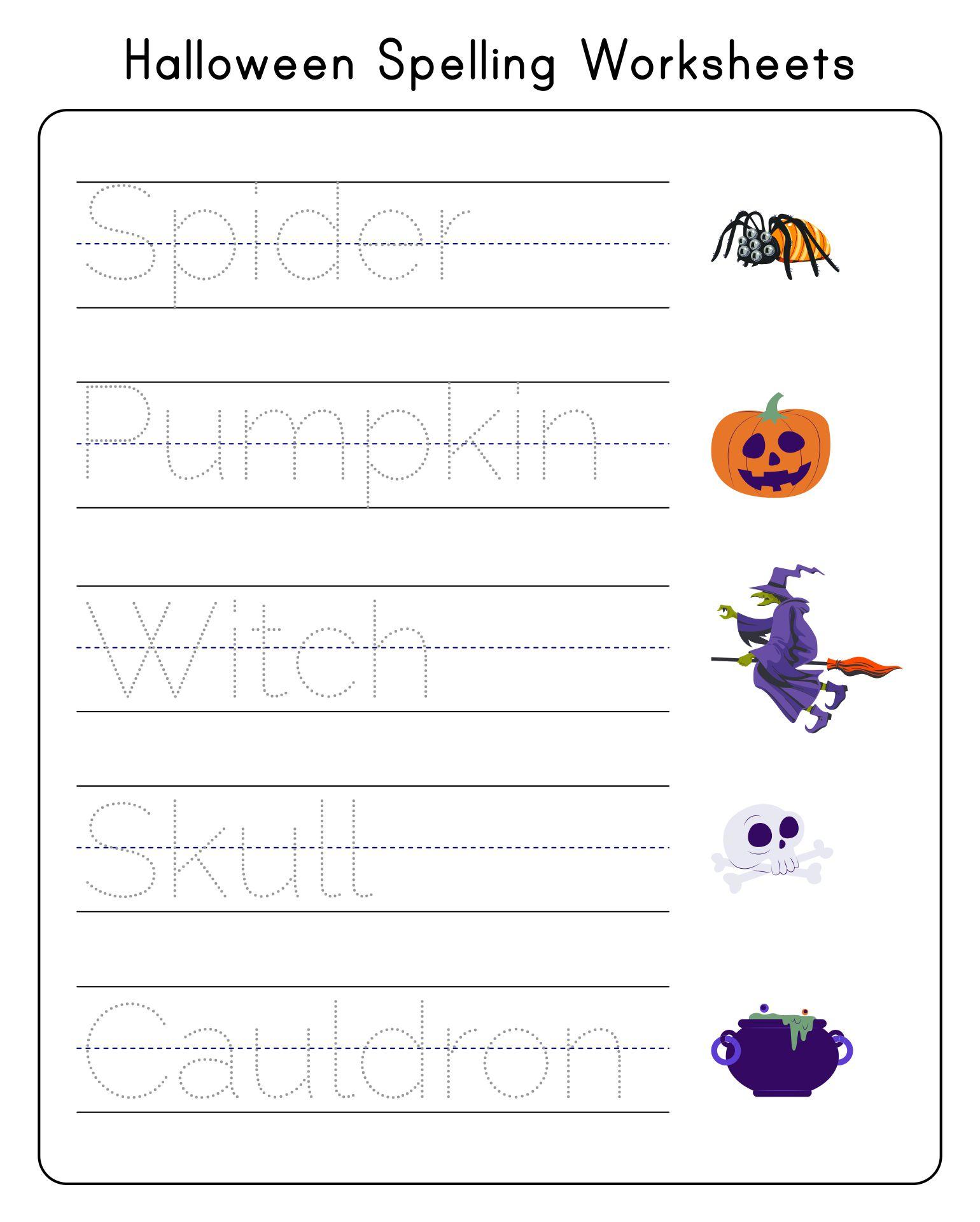 Halloween Spelling Activity Worksheets