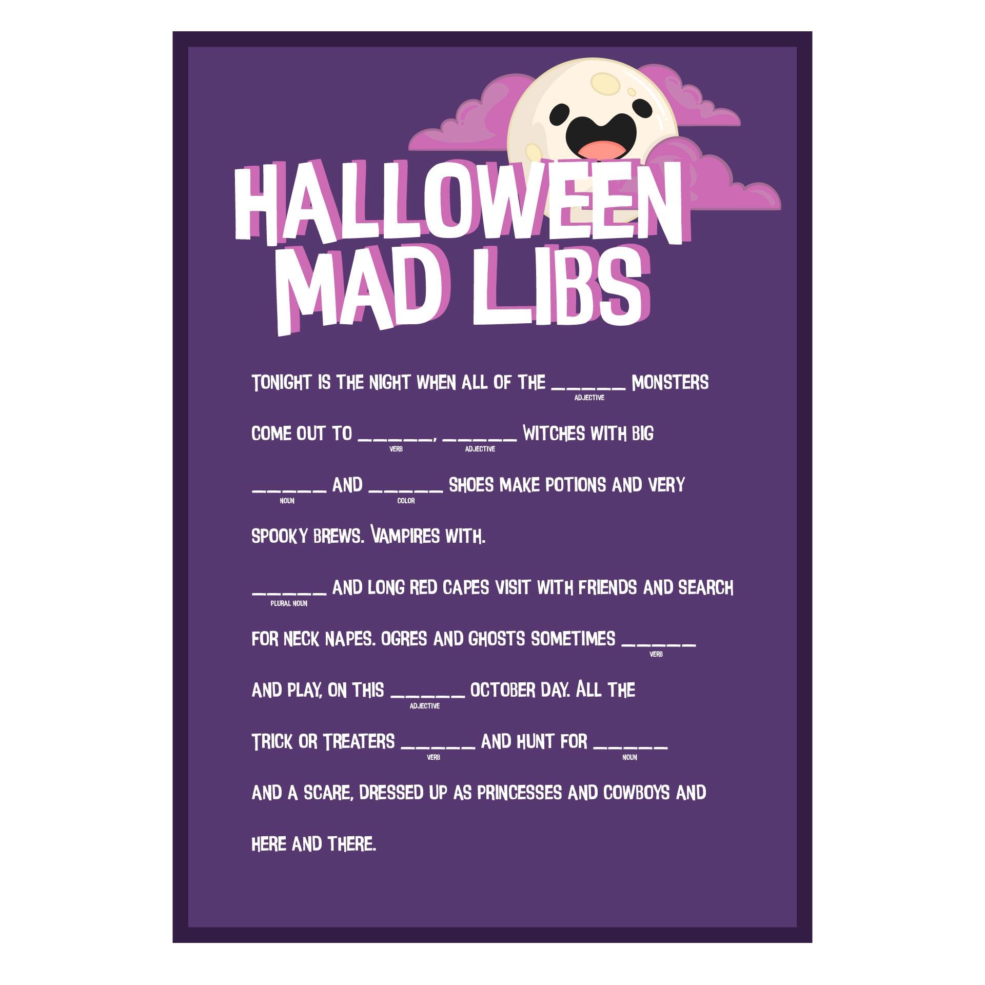 Halloween Themed Mad Libs