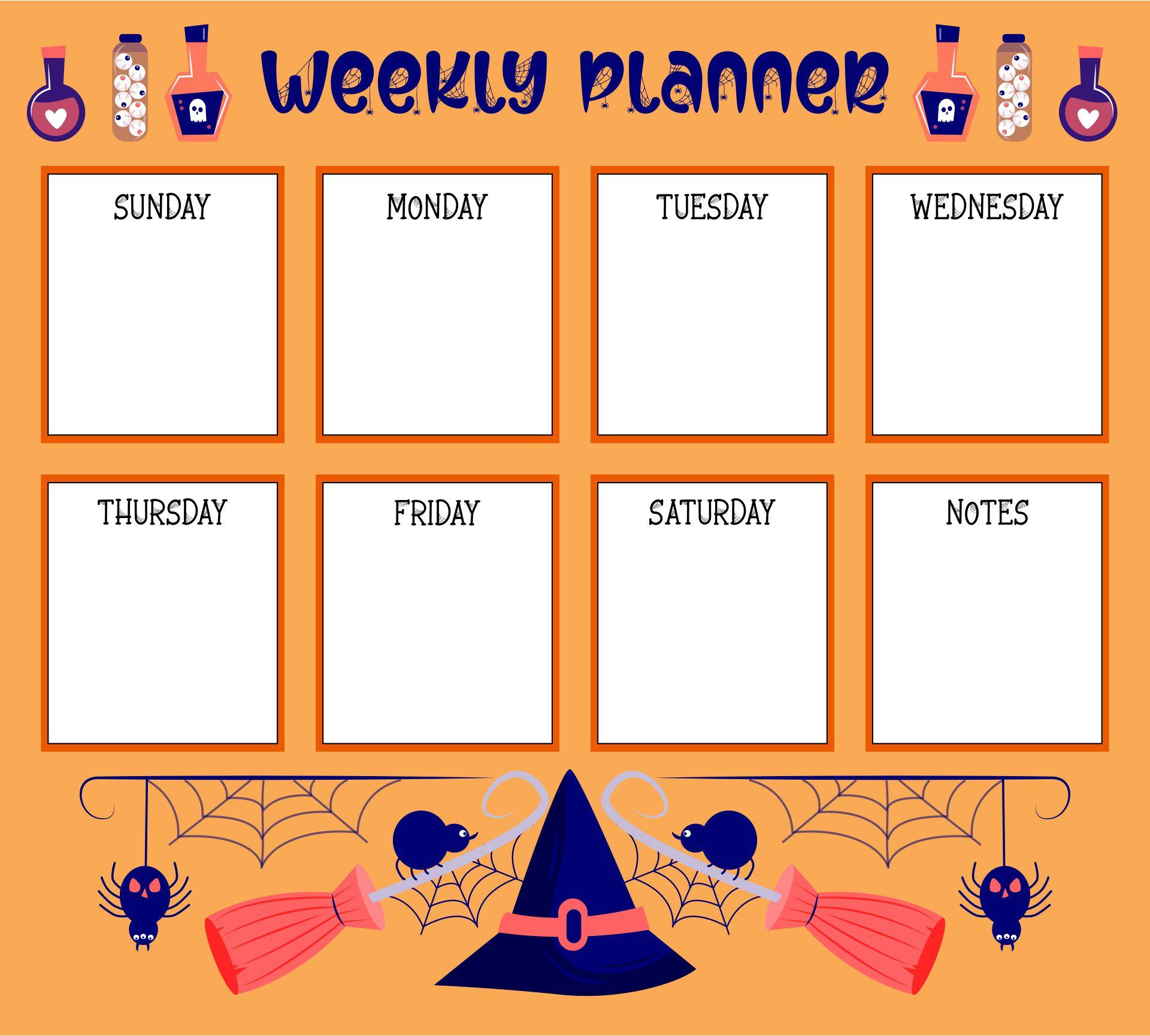 Halloween Themed Weekly Calendar