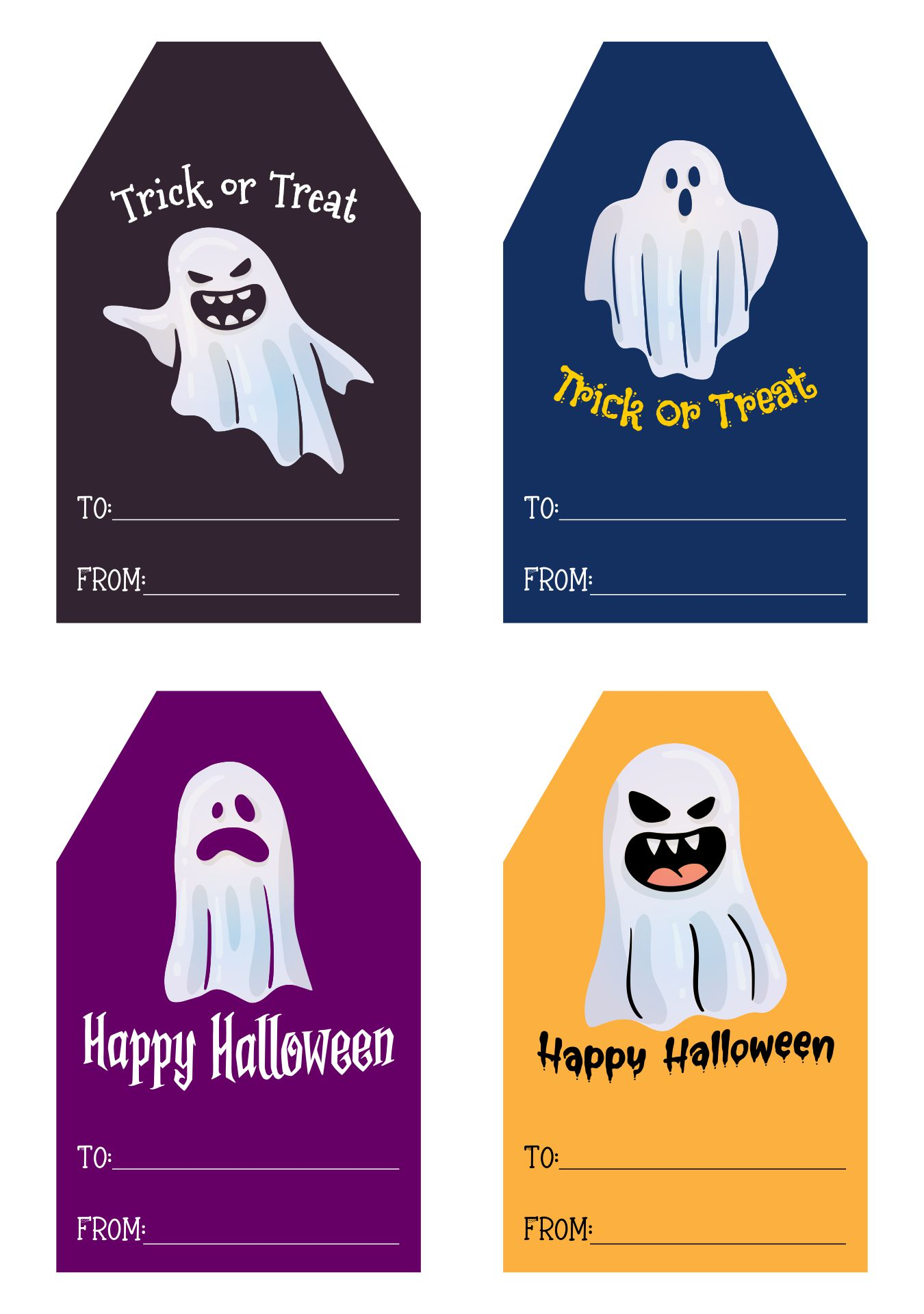 Halloween Trick-or-Treat Ghost Label