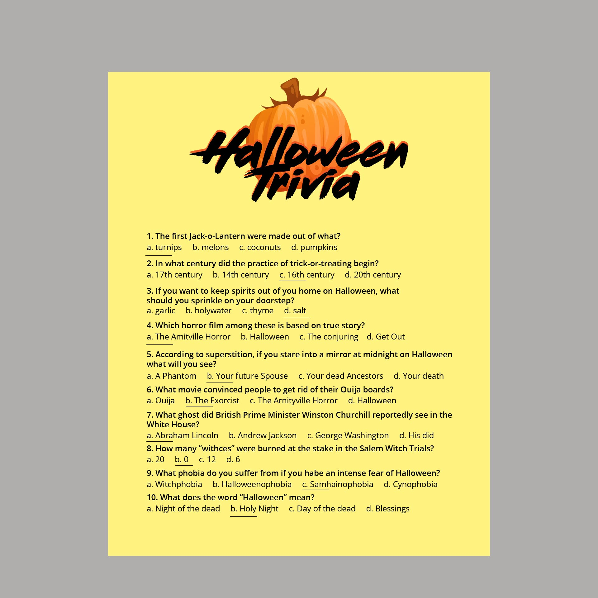 Halloween Trivia Questions And Answers For Adults Printable