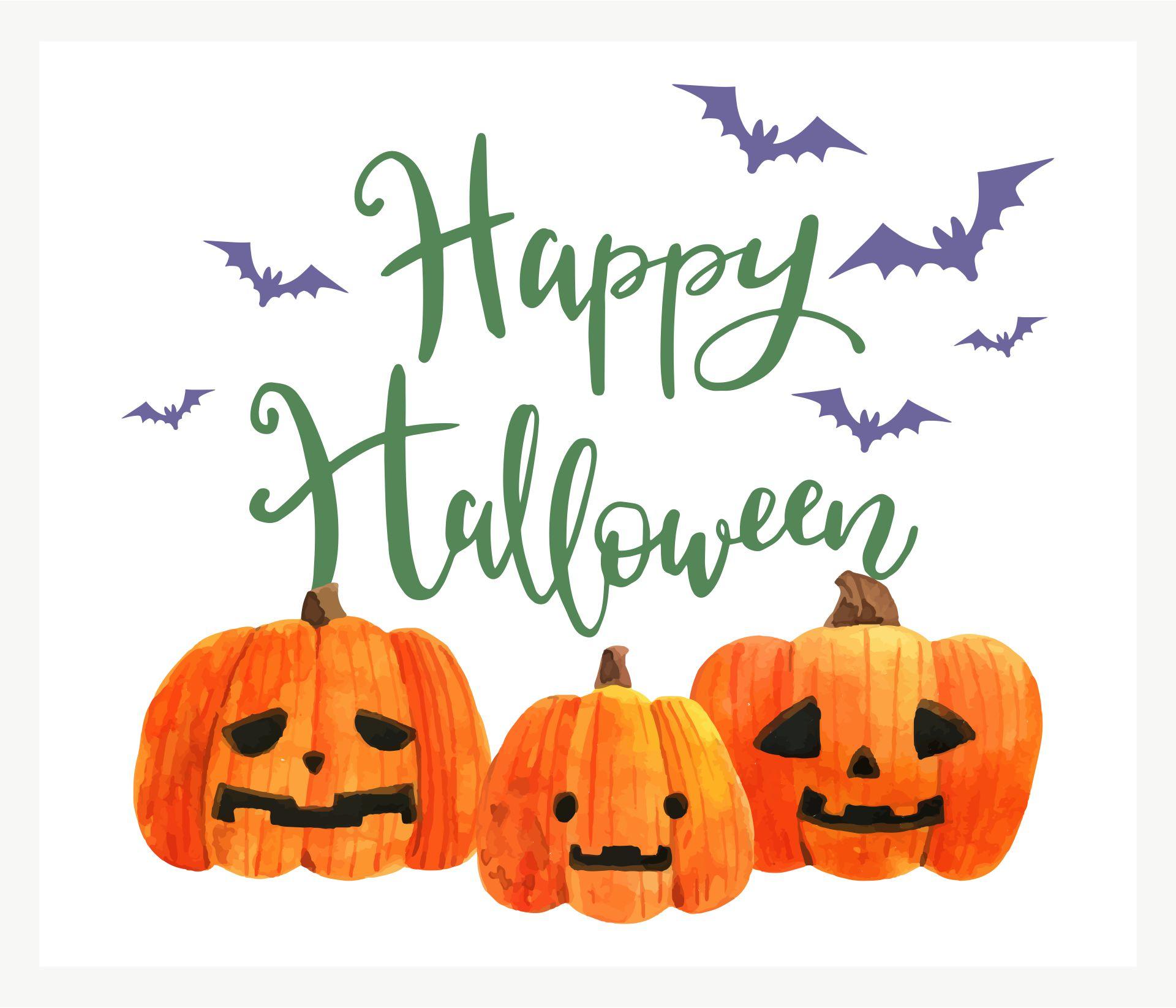 Happy Halloween Greeting Card With Three Jack-O-Lanterns