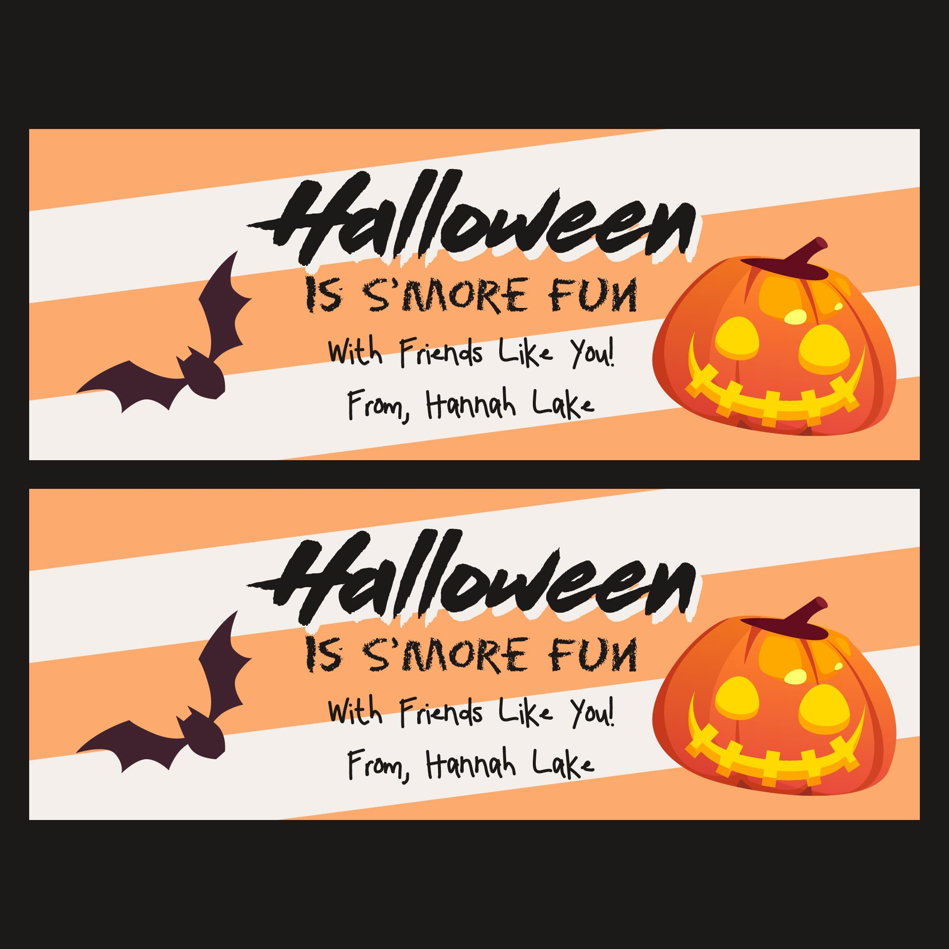 Happy Halloween Smores Bag Topper Printable Tag Insert