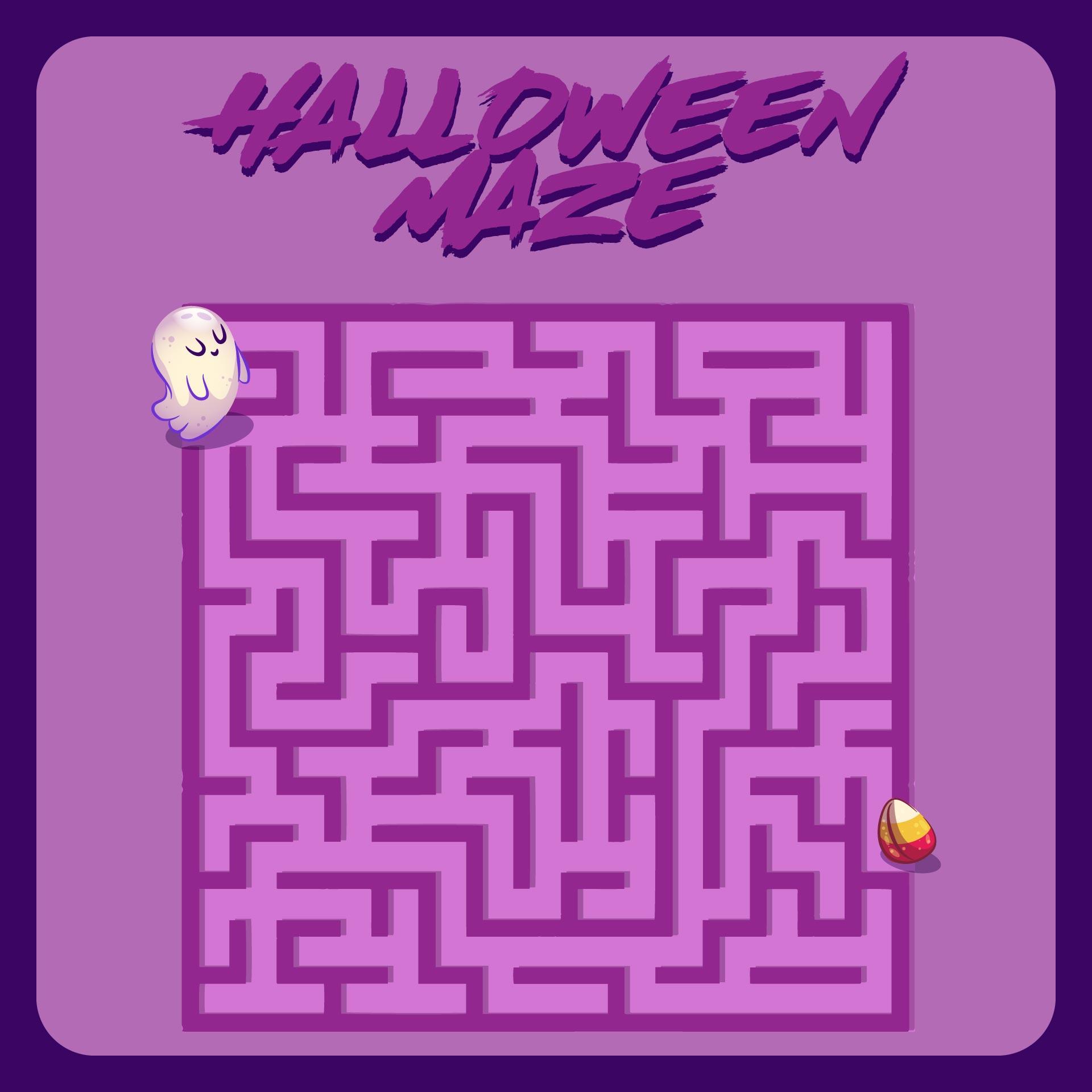 Hard Halloween Mazes Printable