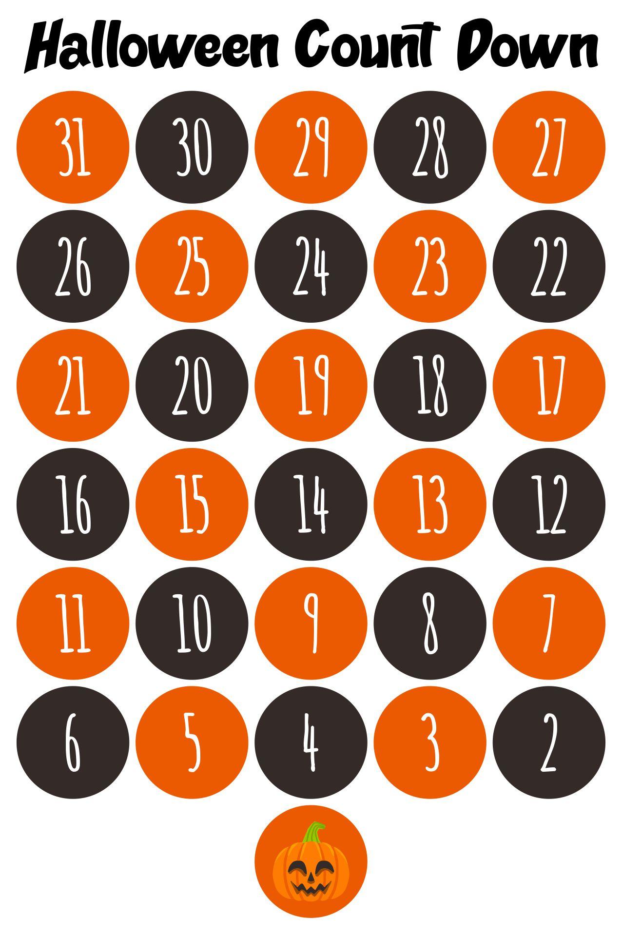 Interactive Countdown To Halloween Calendar Printable