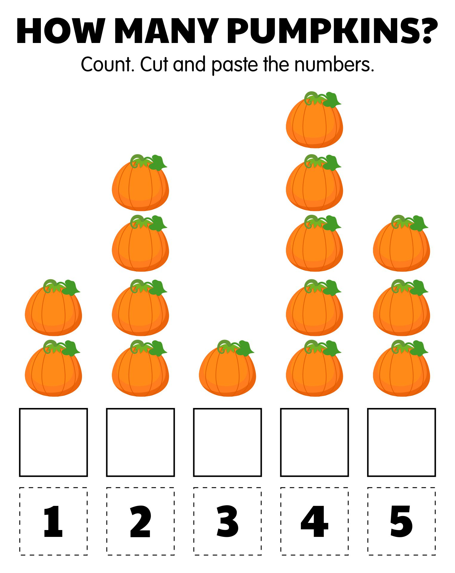 Kindergarten Halloween Math Worksheets