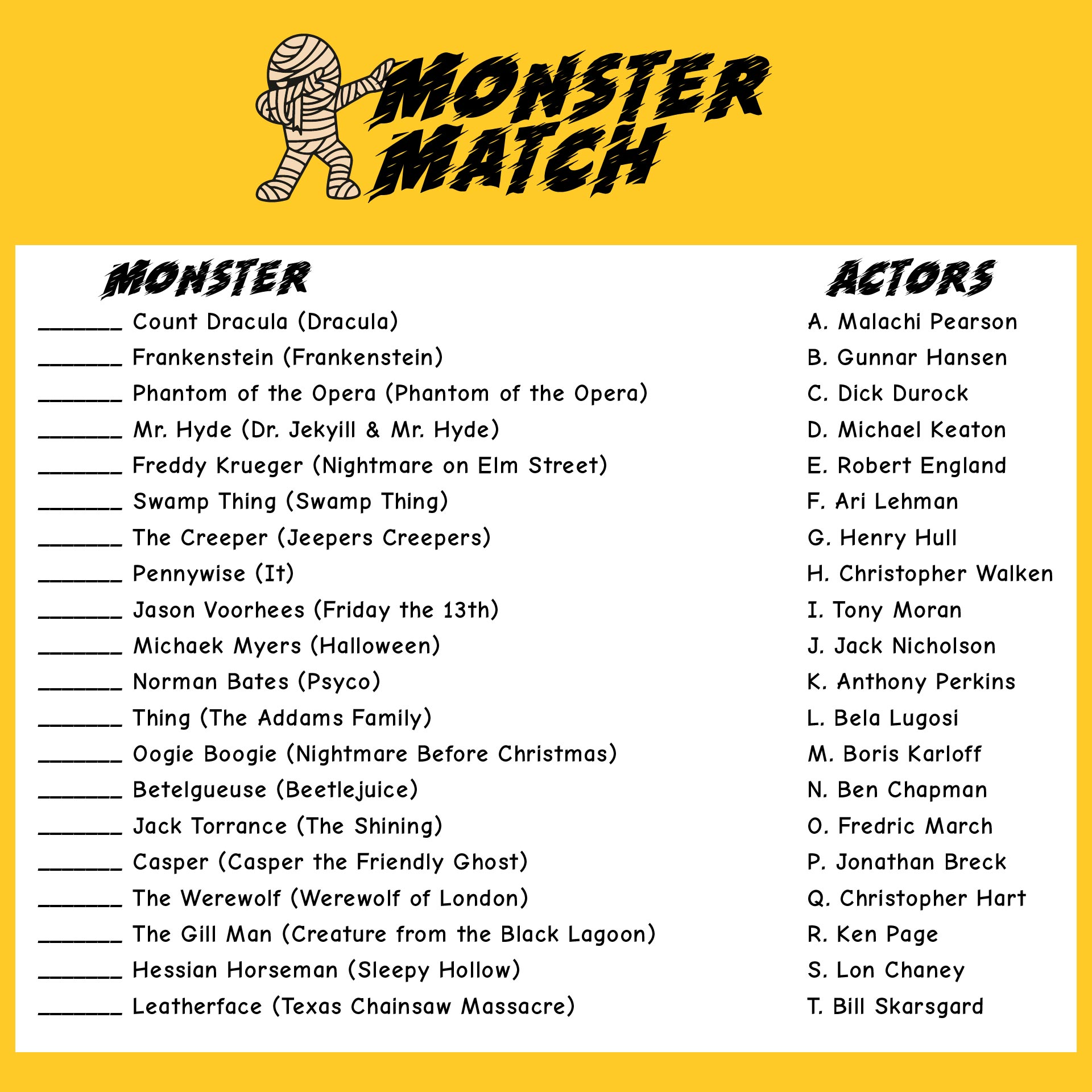 Monster Themed Halloween Games For Adults Free Printables
