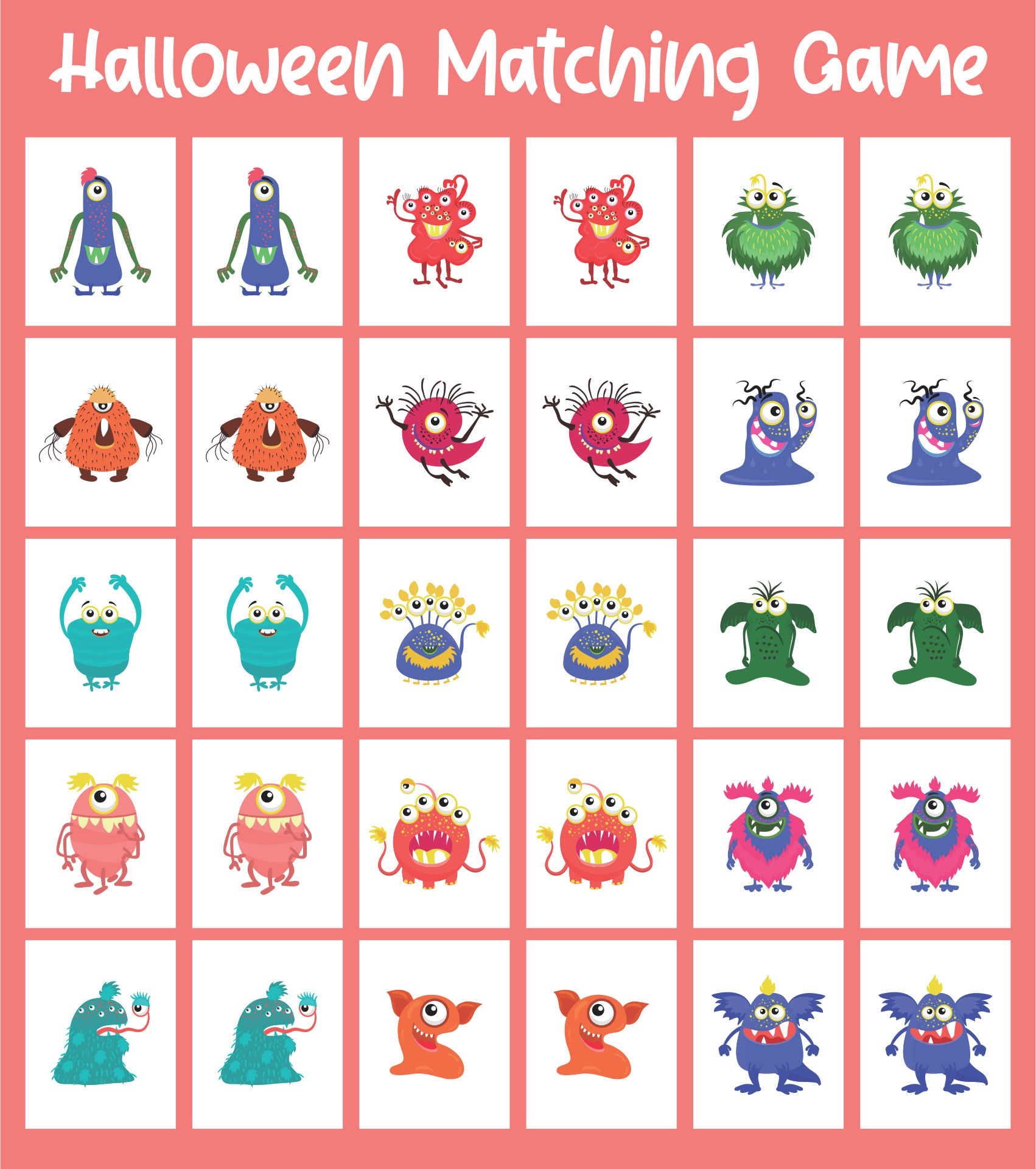 Monster-Themed Halloween Matching Game Printable
