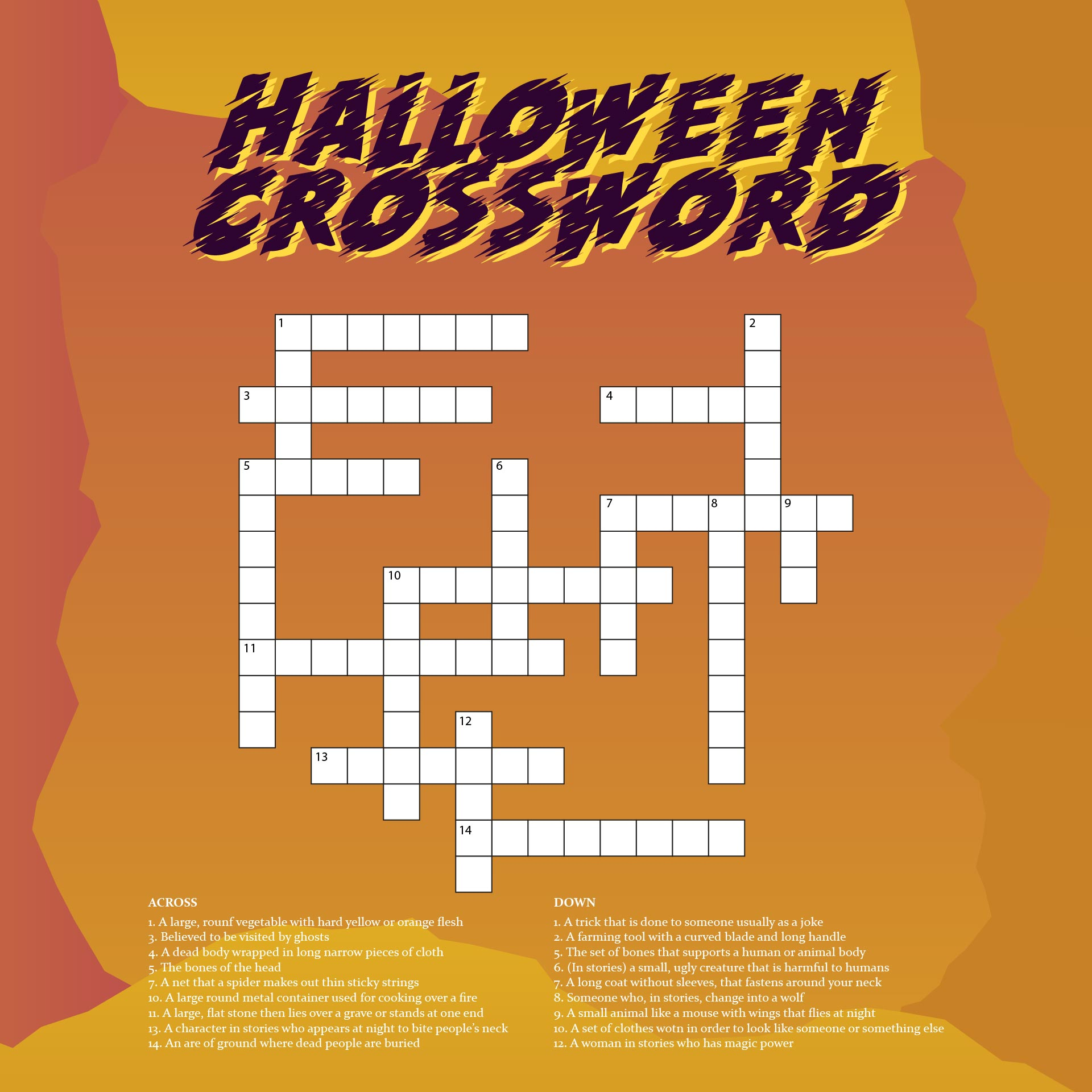 Play And Solve This Interesting Halloween Crossword Puzzle