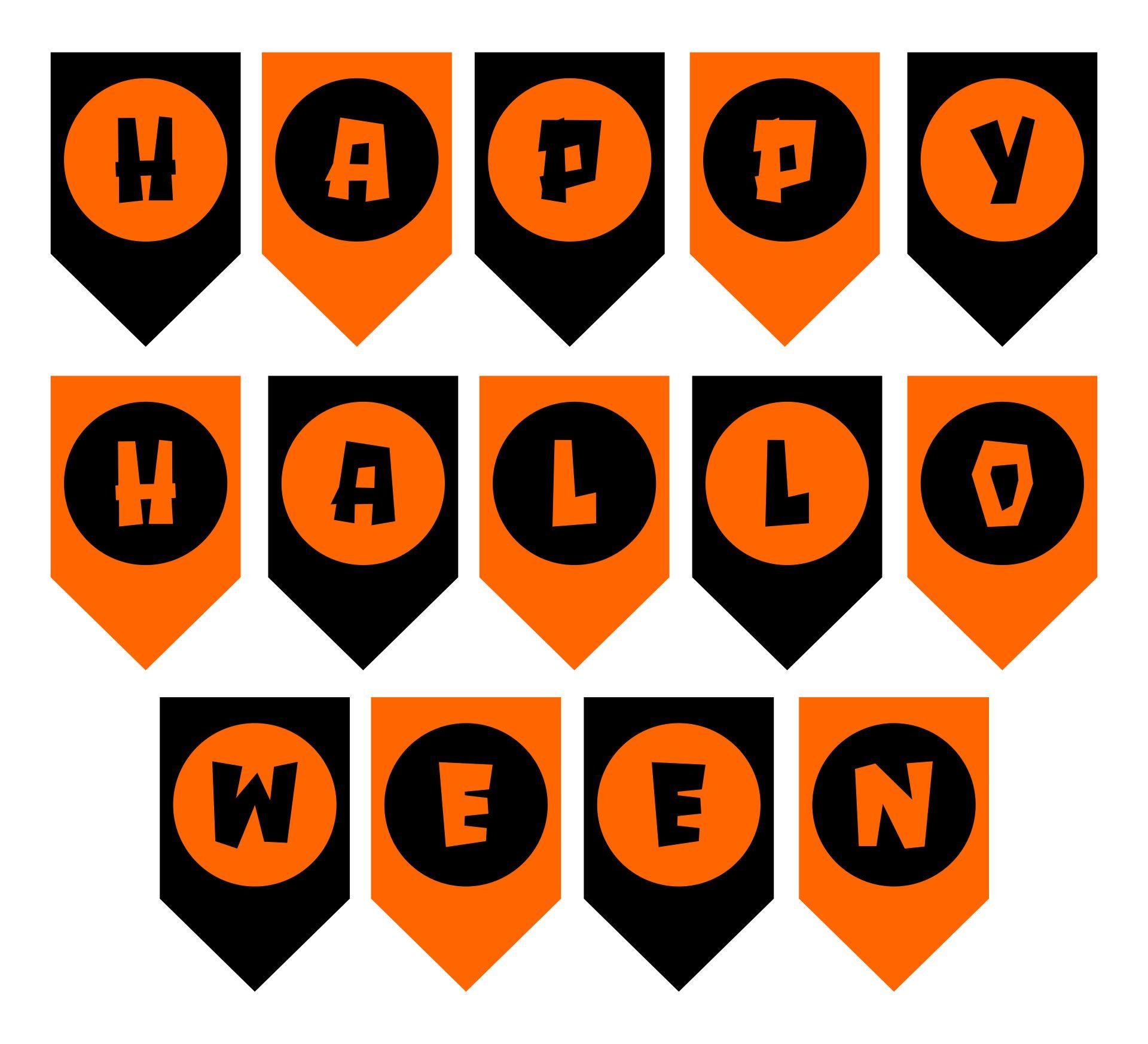 Printable Black And Orange Happy Halloween Banner Halloween