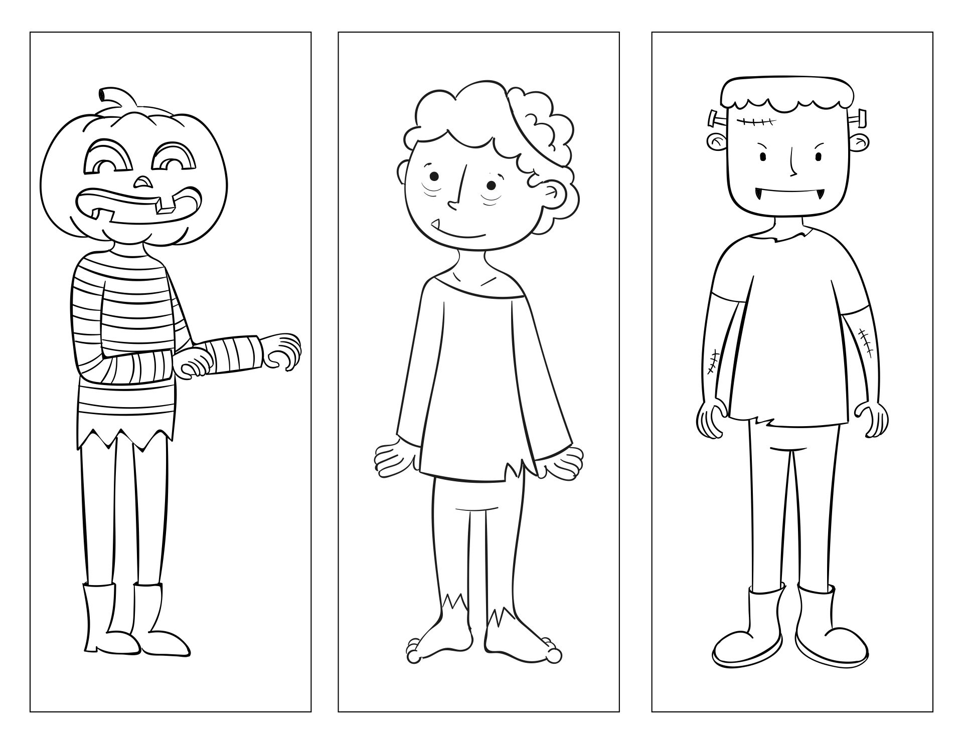 Printable Bookmark Halloween Coloring Page For Kids