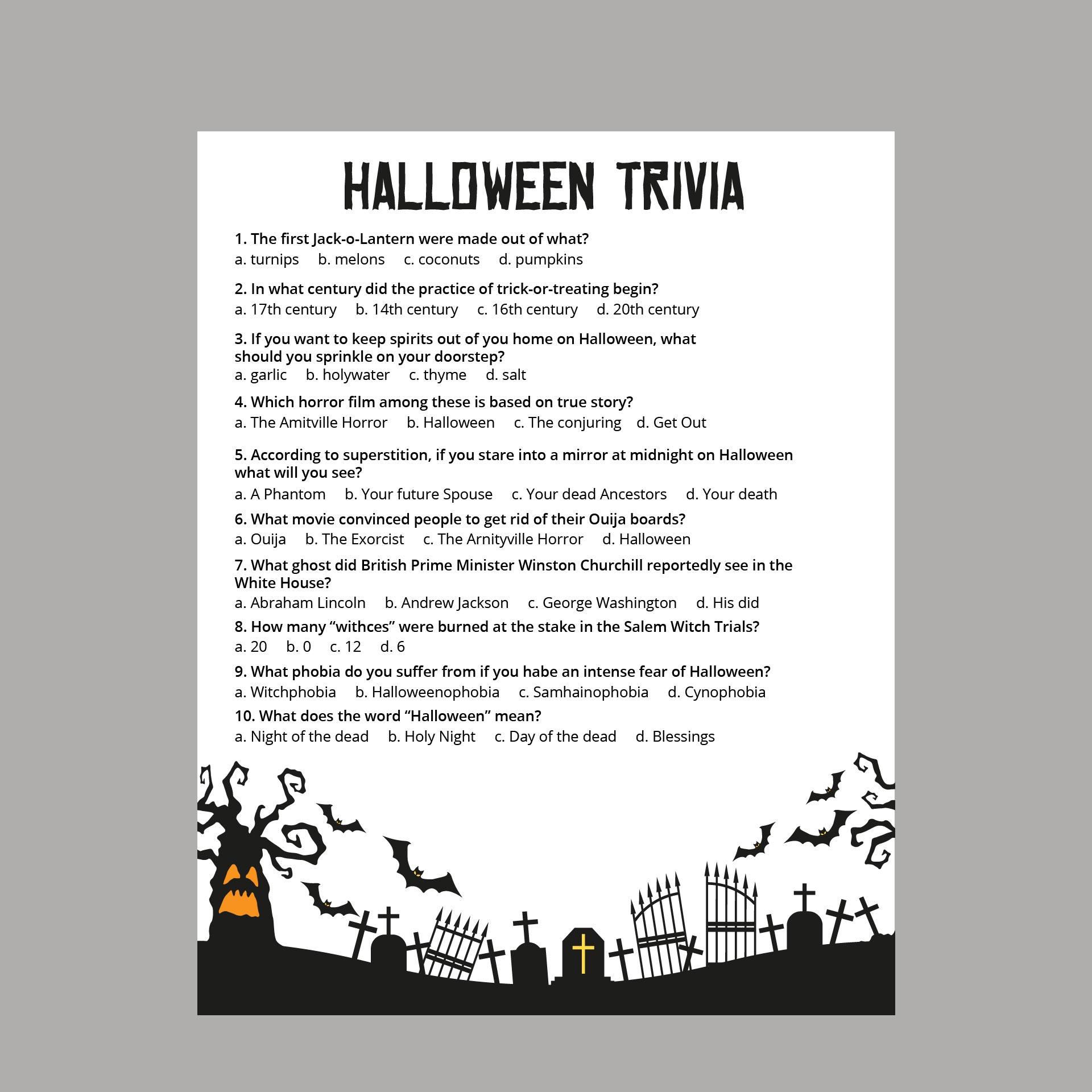 Printable Creepy Trivia Questions