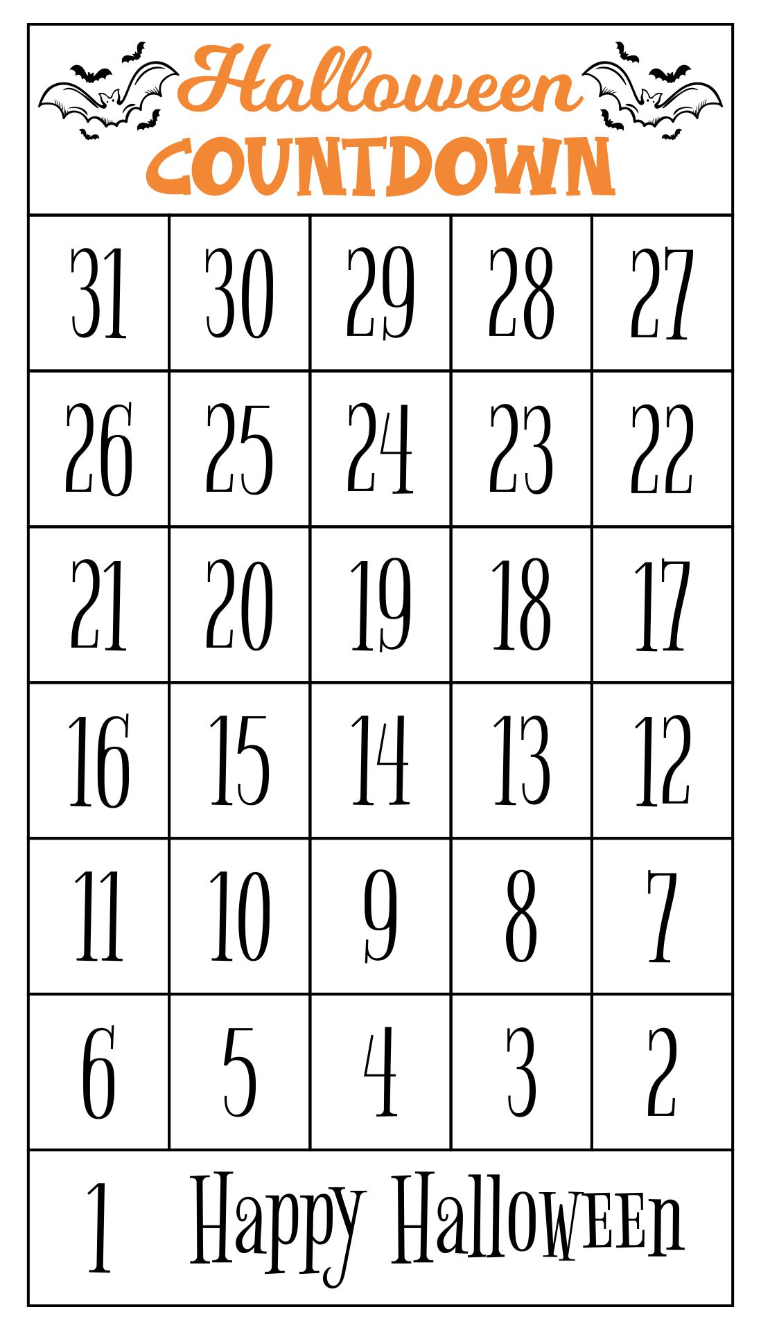 Printable Halloween Countdown Calendar