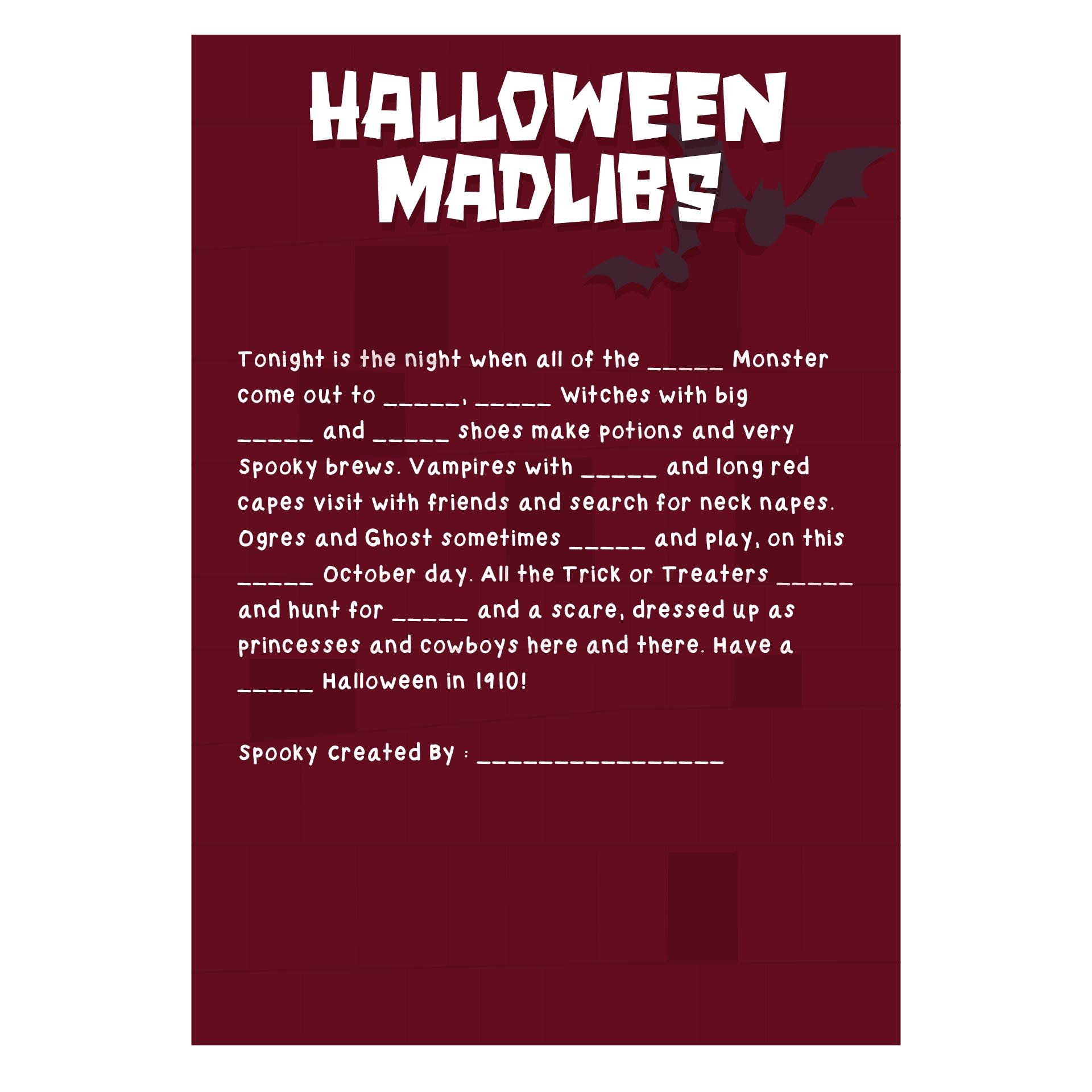 Printable Halloween Mad Libs For Kids
