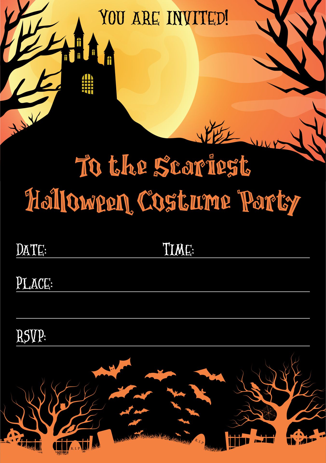 Printable Halloween Party Invite Wording For Adults
