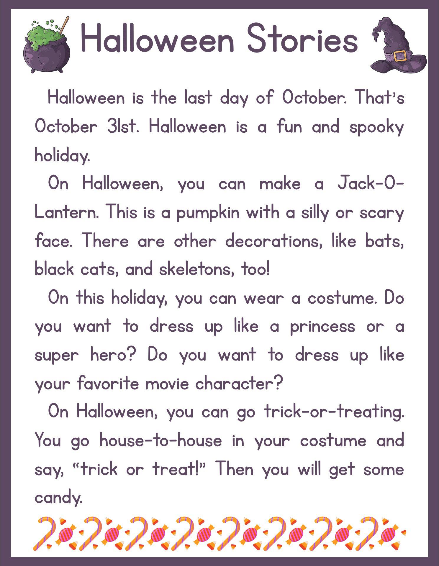 Printable Halloween Story For Preschoolers