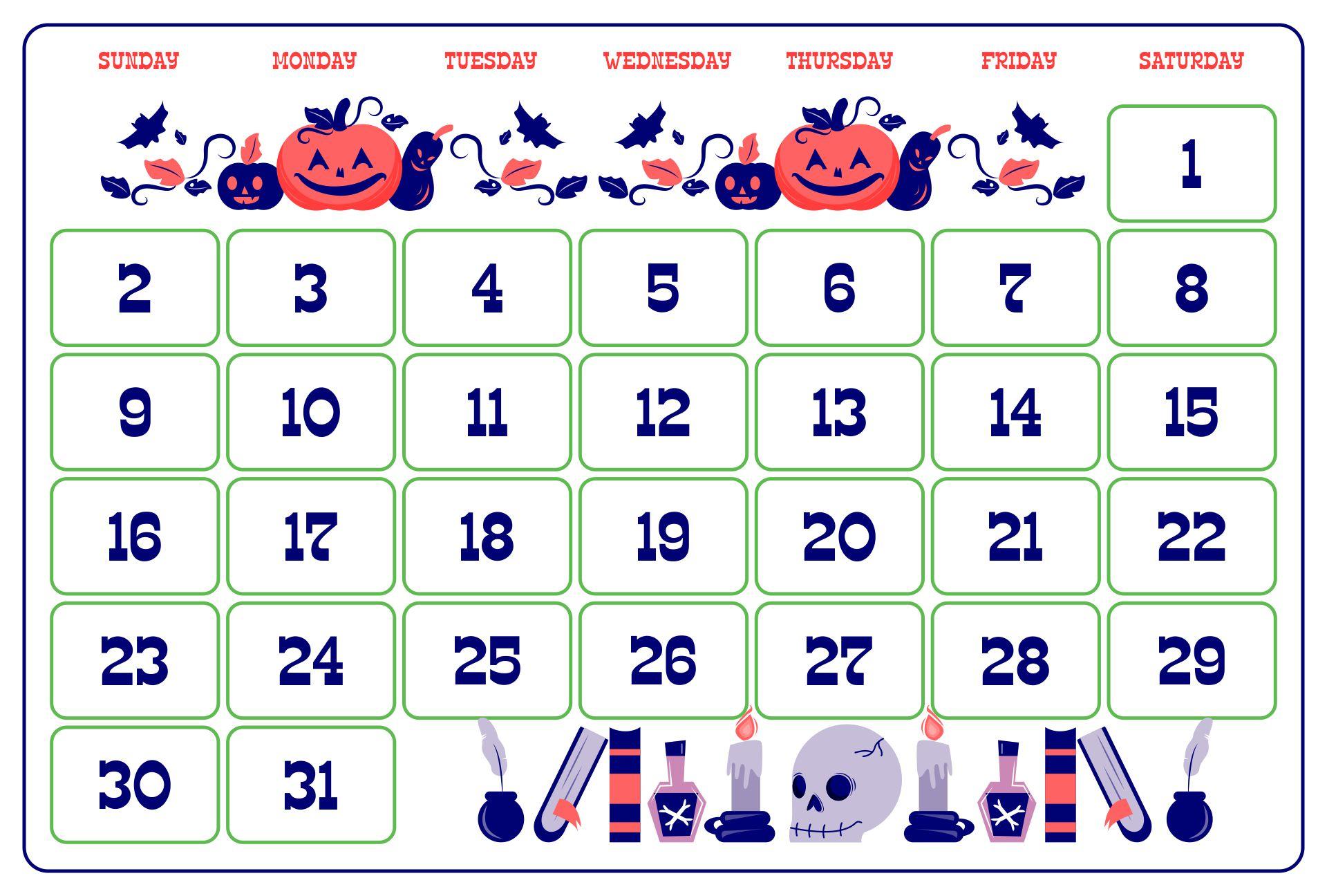Printable Halloween Themed Calendar Set For October