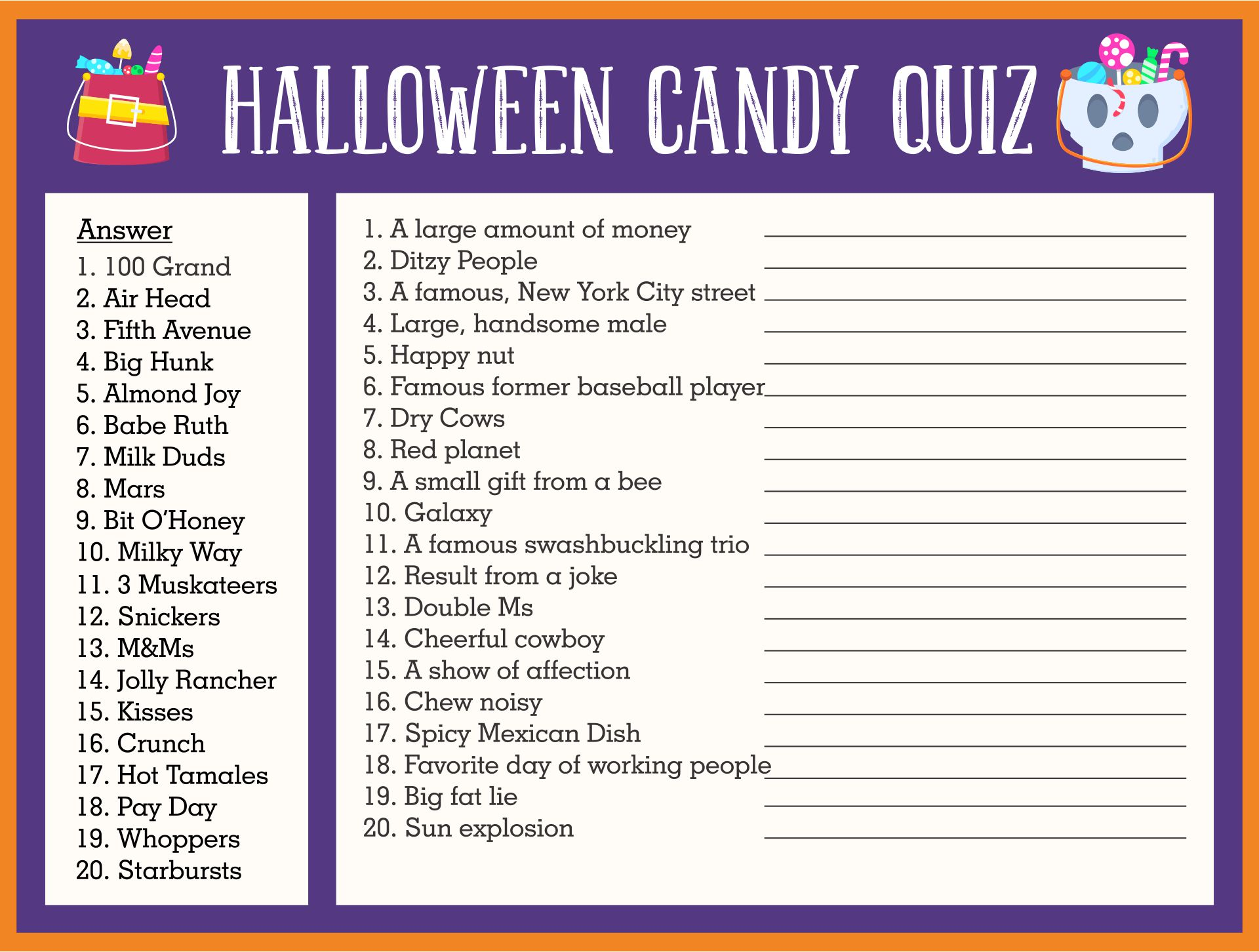 Printable Outdoor Halloween Party Games For Adults