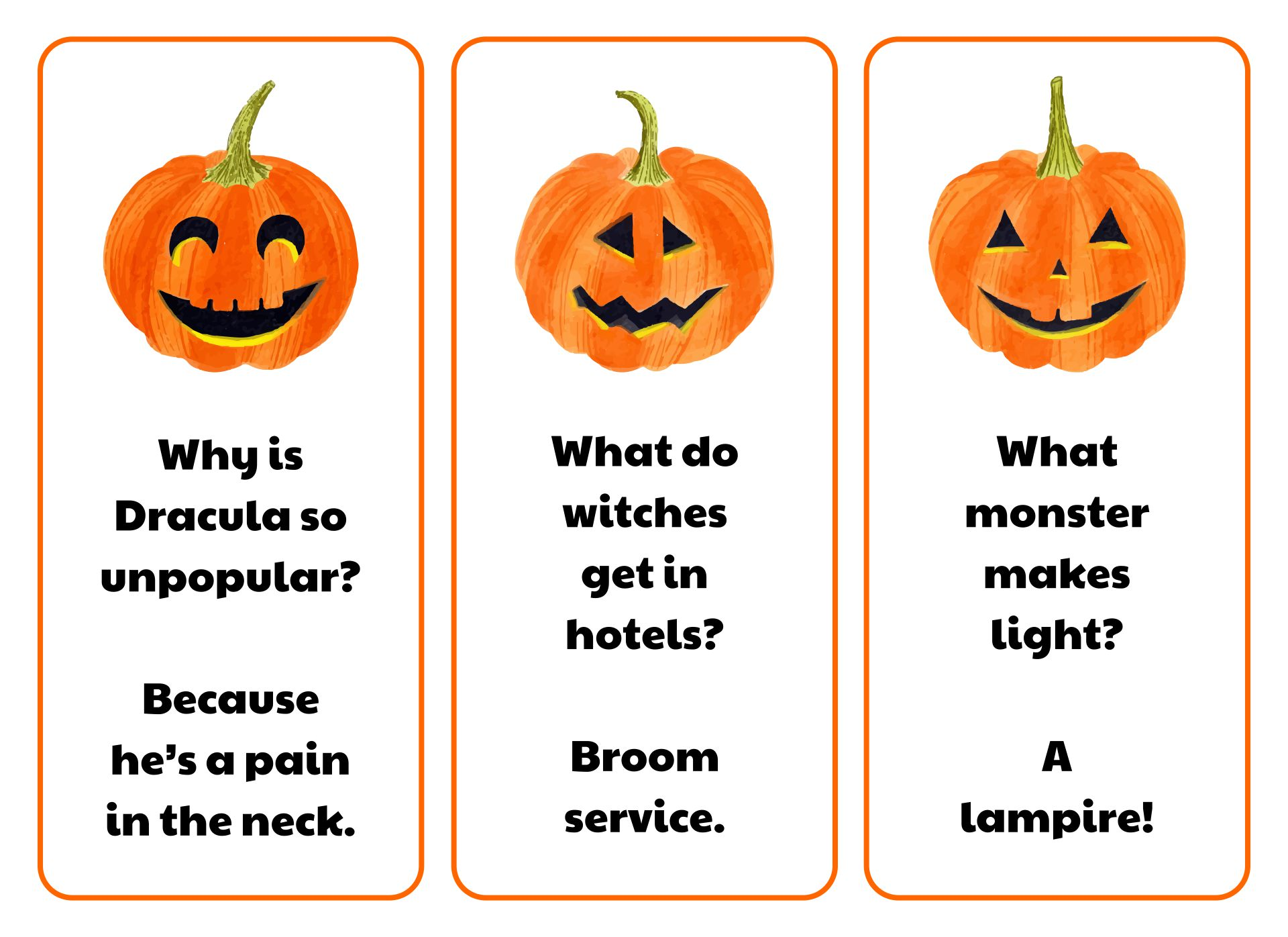 Printable Pumpkin Jokes Bookmarks