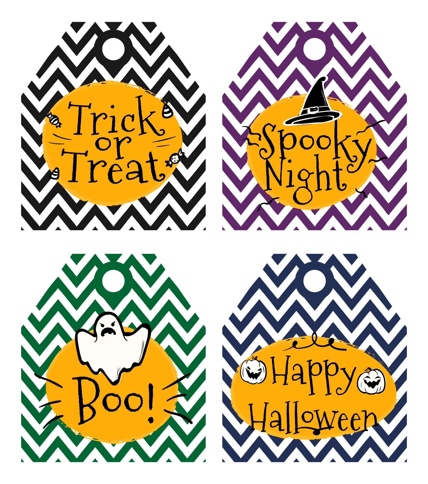 Printable Trick Or Treat Tags Halloween Favor Tags