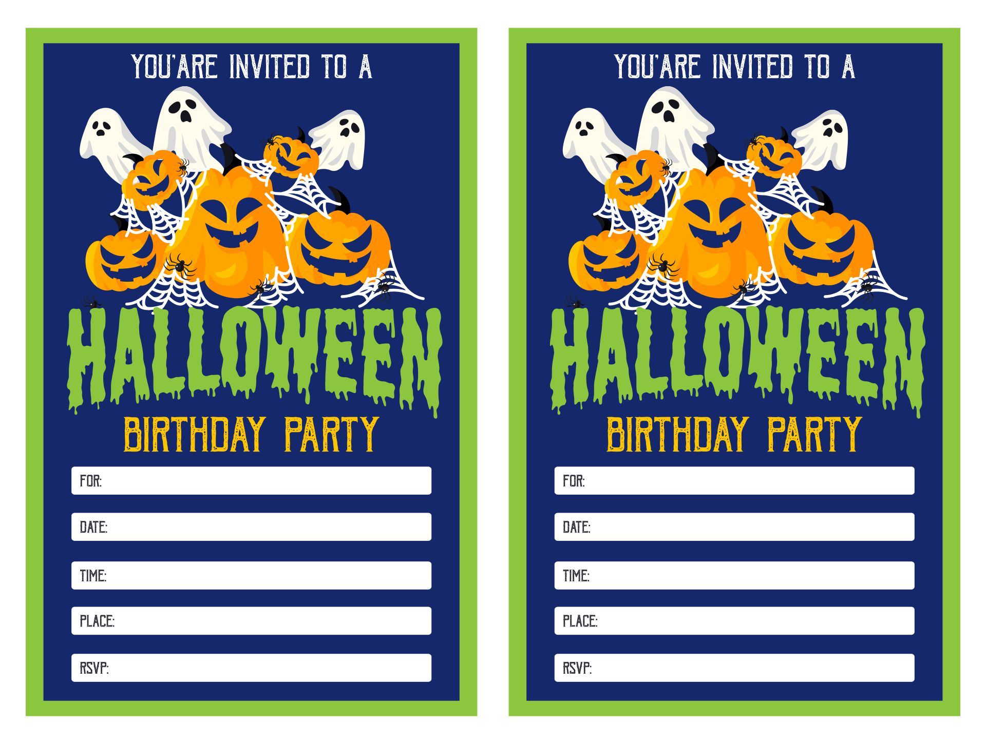 Scary Halloween Themed Birthday Invitations