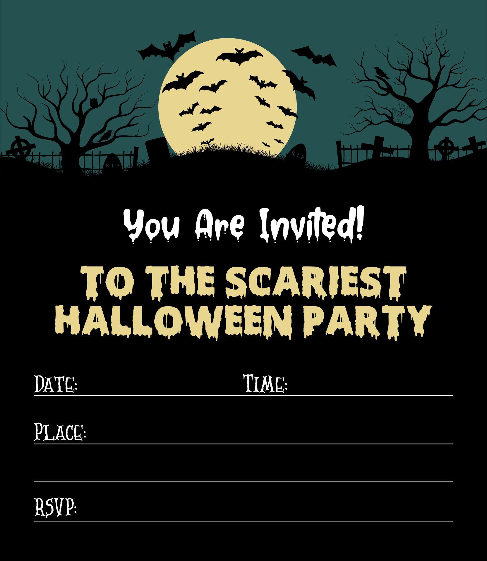Spooky Graveyard Halloween Party Invitation