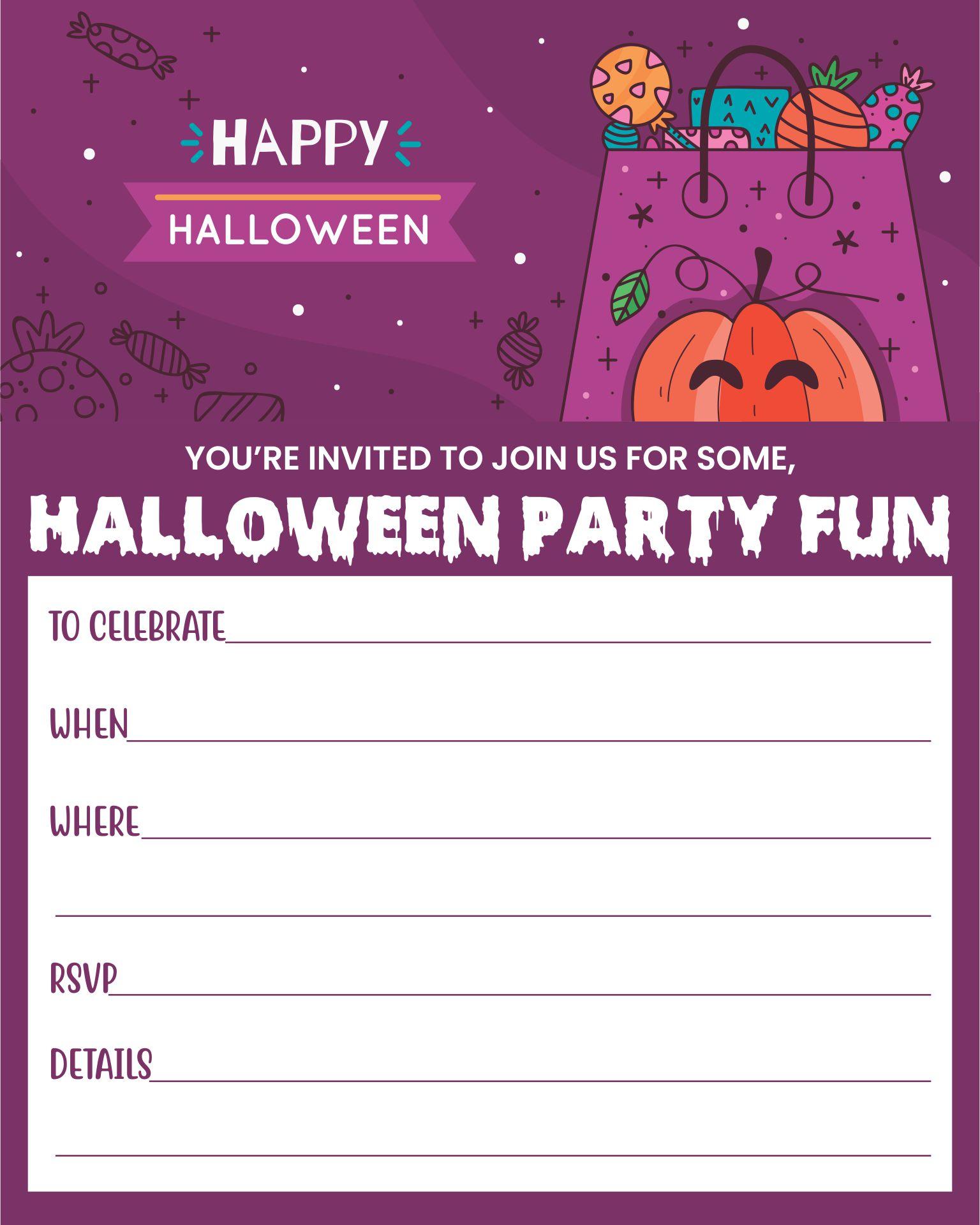 Spooky Halloween Themed Birthday Party Invitation Template