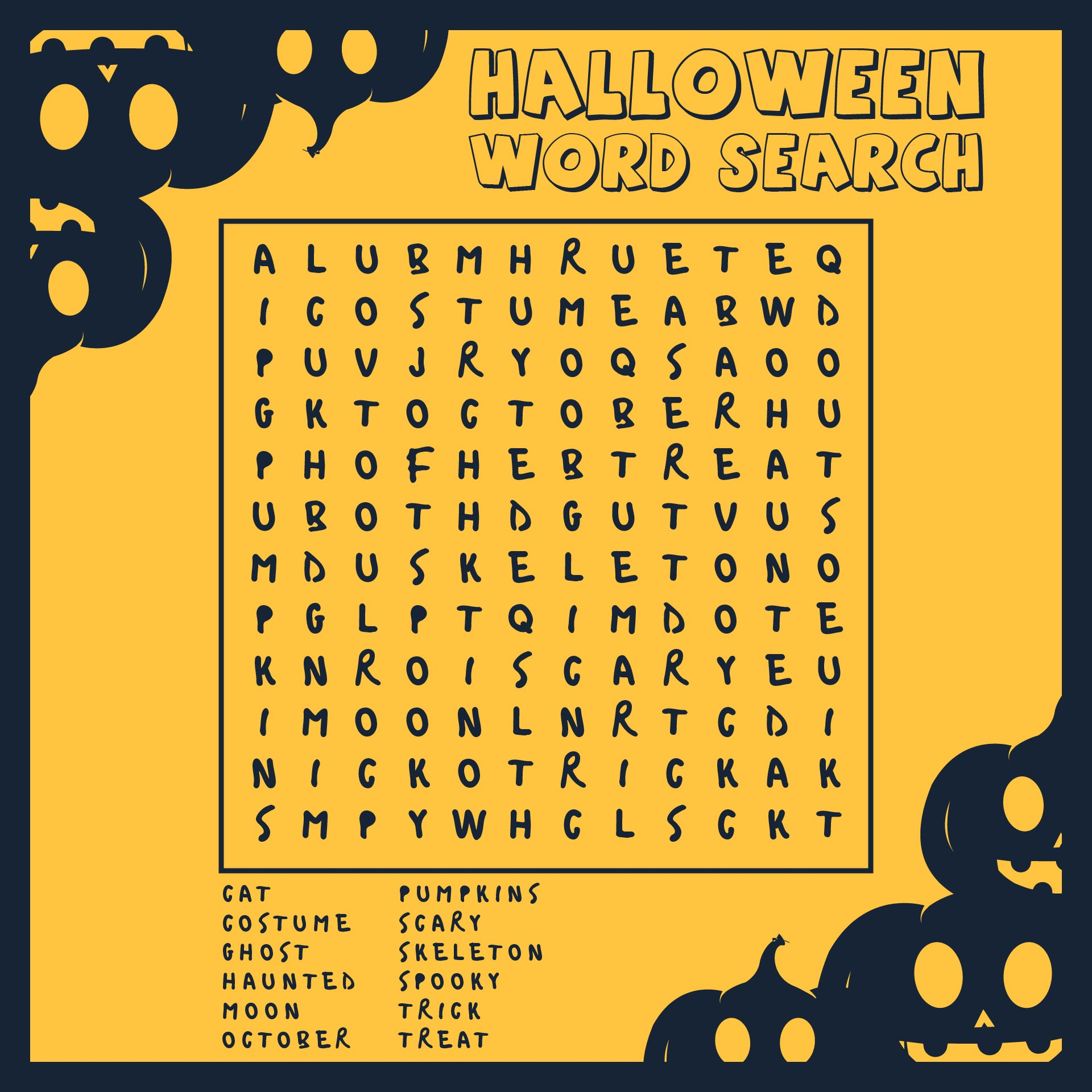 The Ultimate Halloween Word Search Answer Key