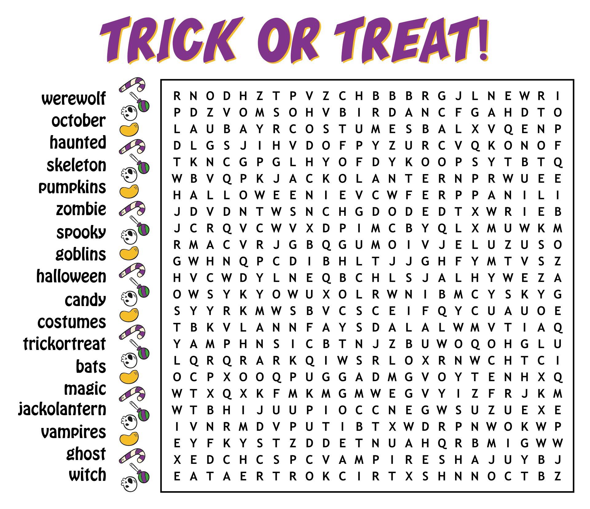 Trick Or Treat Halloween Word Search