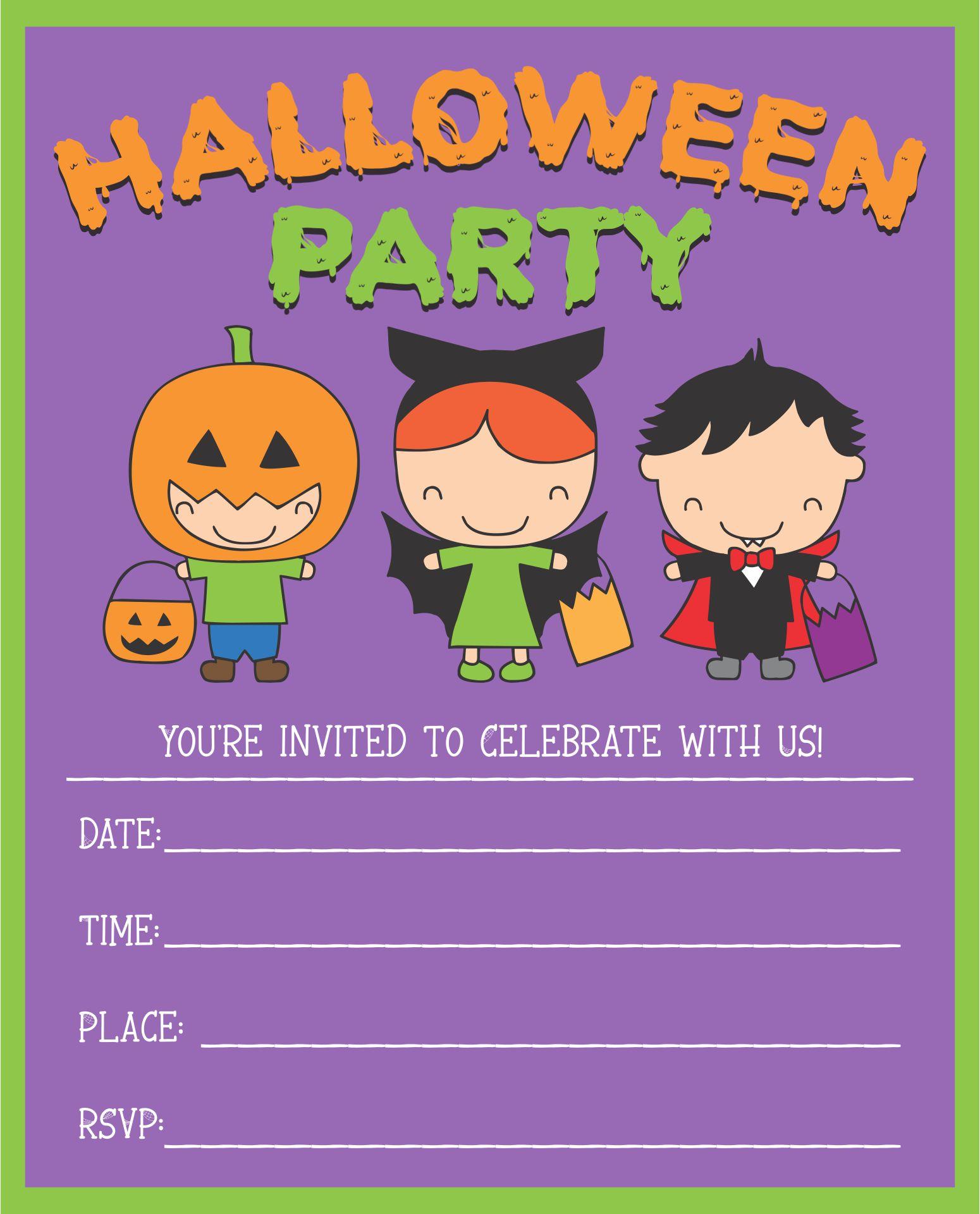 Cute Halloween Printable Invitation